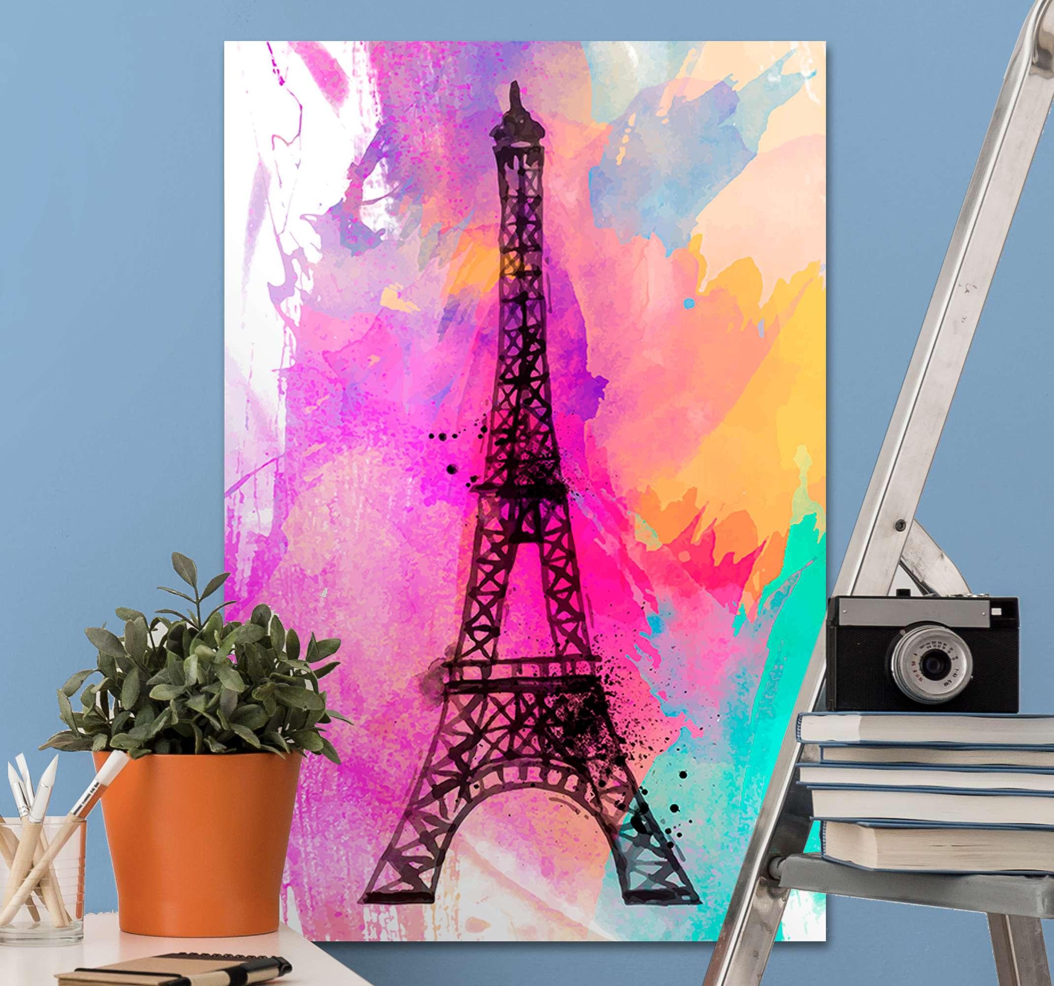 TenVinilo. Cuadro de ciudades Torre Eiffel fondo multicolor. Cuadro de ciudades con Torre Eiffel para iluminar la decoración de su hogar, oficina, sala de estar, espacio para invitados, salón, etc.