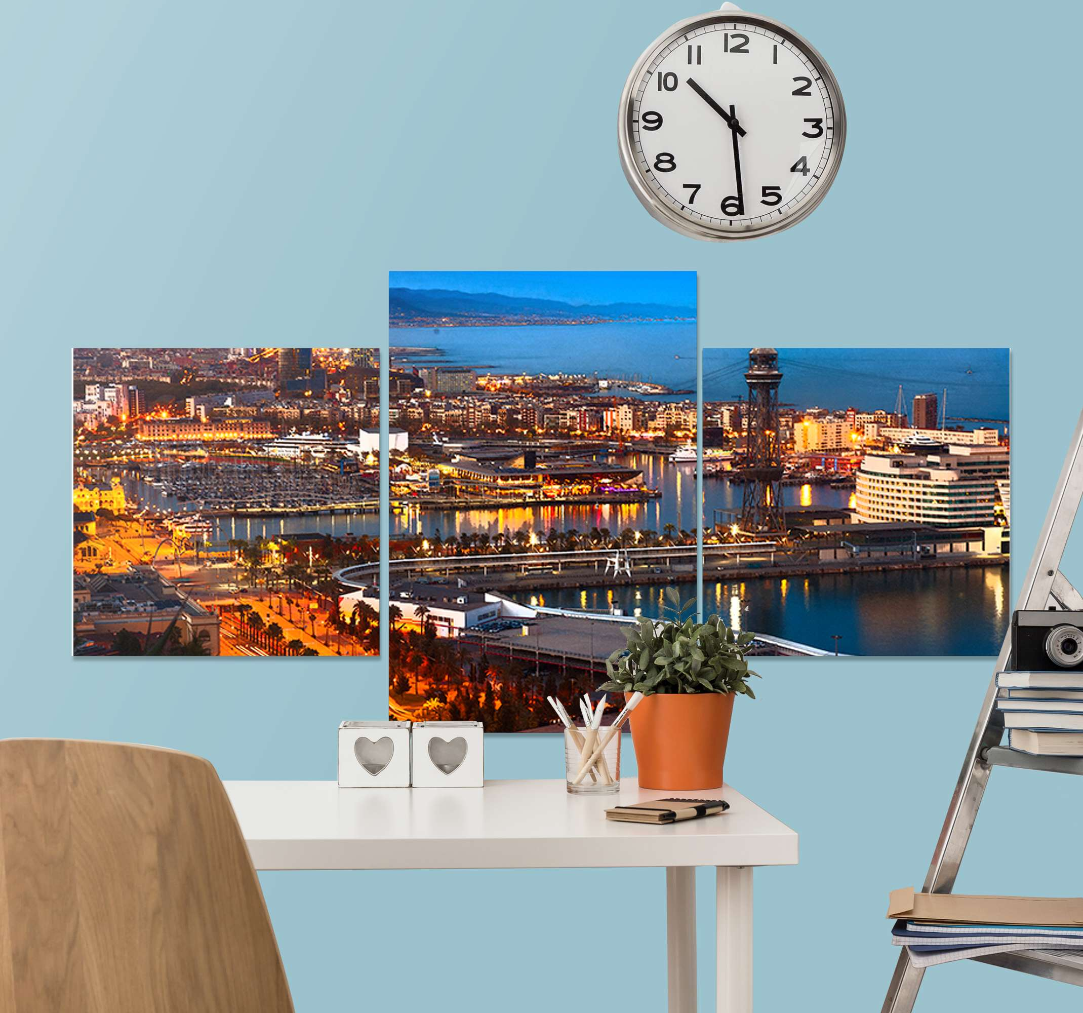 TenStickers. Barcelona cities at night City skyline prints. This cityscape wall canvas art gives you a view and of what Barcelona city looks at night. It is original, durable and printed in quality finish.