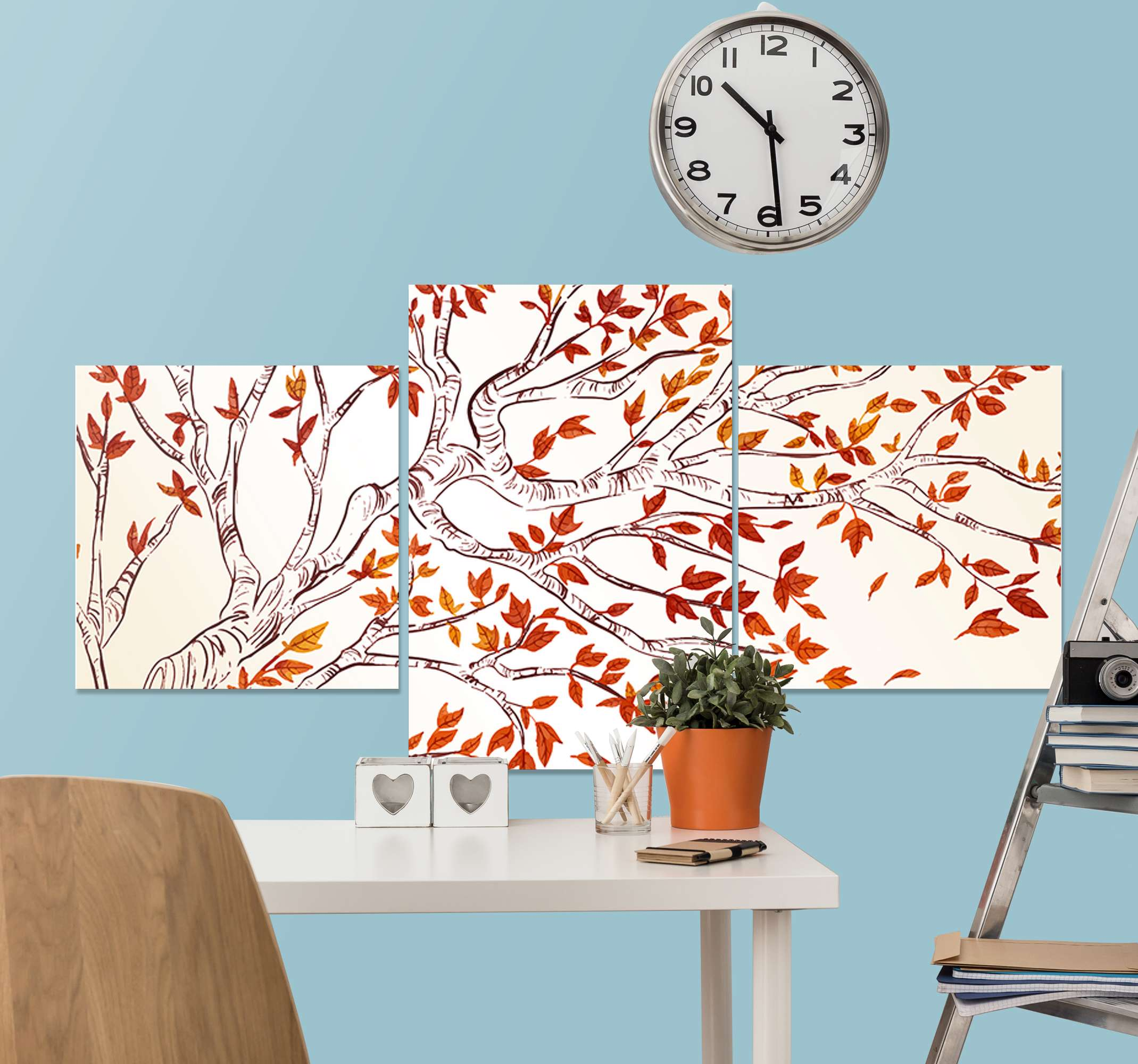 TenStickers. Elegant branches tree red leaves sophisticated canvas prints. Our elegant red tree branch canvas print will set your home or office space apart with a lovely and comfortable feeling. Printed with quality finish.