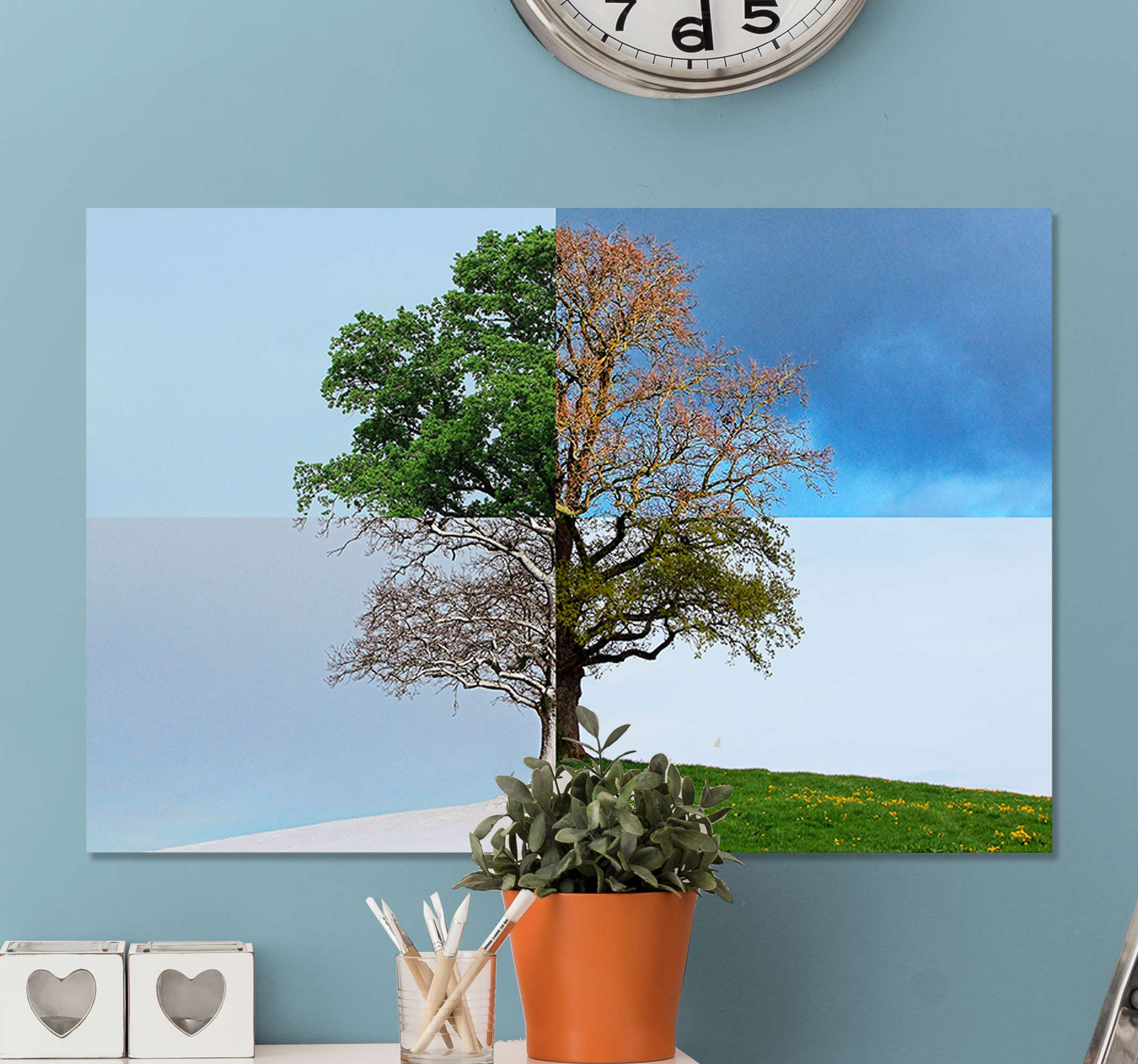 TenStickers. Four Seasons Tree canvas print. Incredible tree wall art canvas to show you love for all four seasons! Discounts available when you sign up online today.