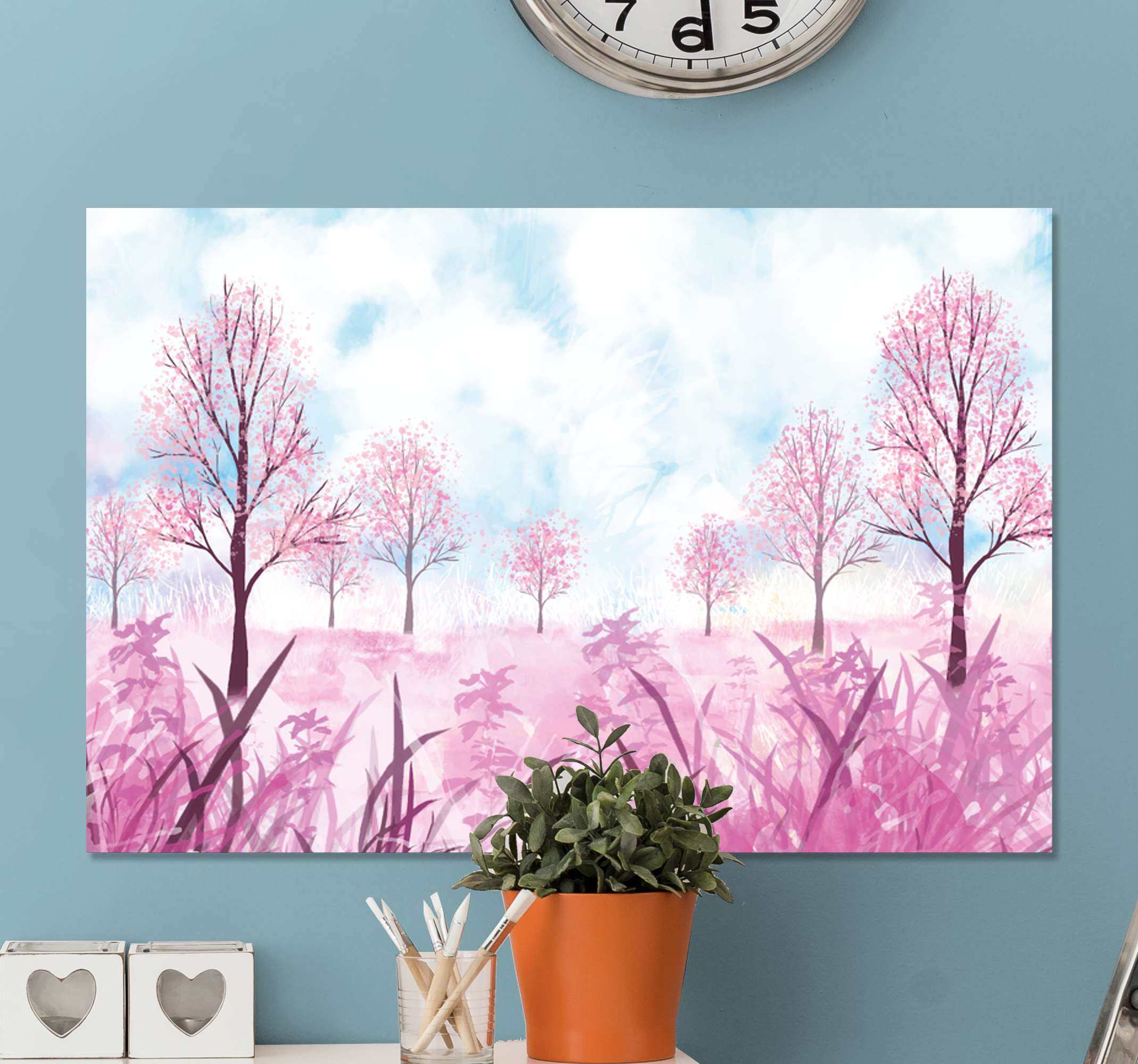 TenStickers. Spring Tree canvas print. An incredible watercolour landscape canvas wall art to make your guests jealous. Extremely easy to hang up and maintain.