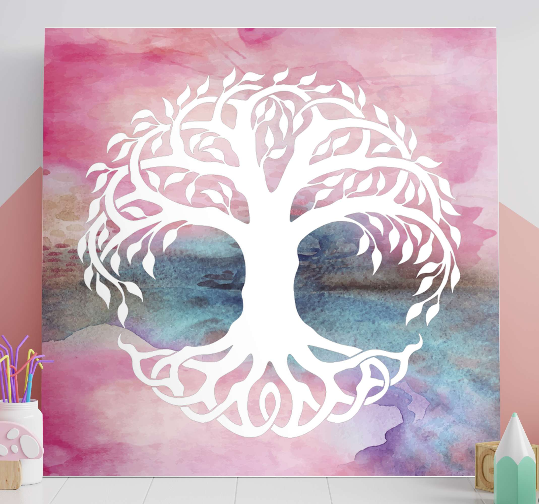 TenStickers. Watercolour Tree of Life canvas print. Tree of life canvas which features a beautiful image of the tree of life against a water-coloured background. Discounts available.