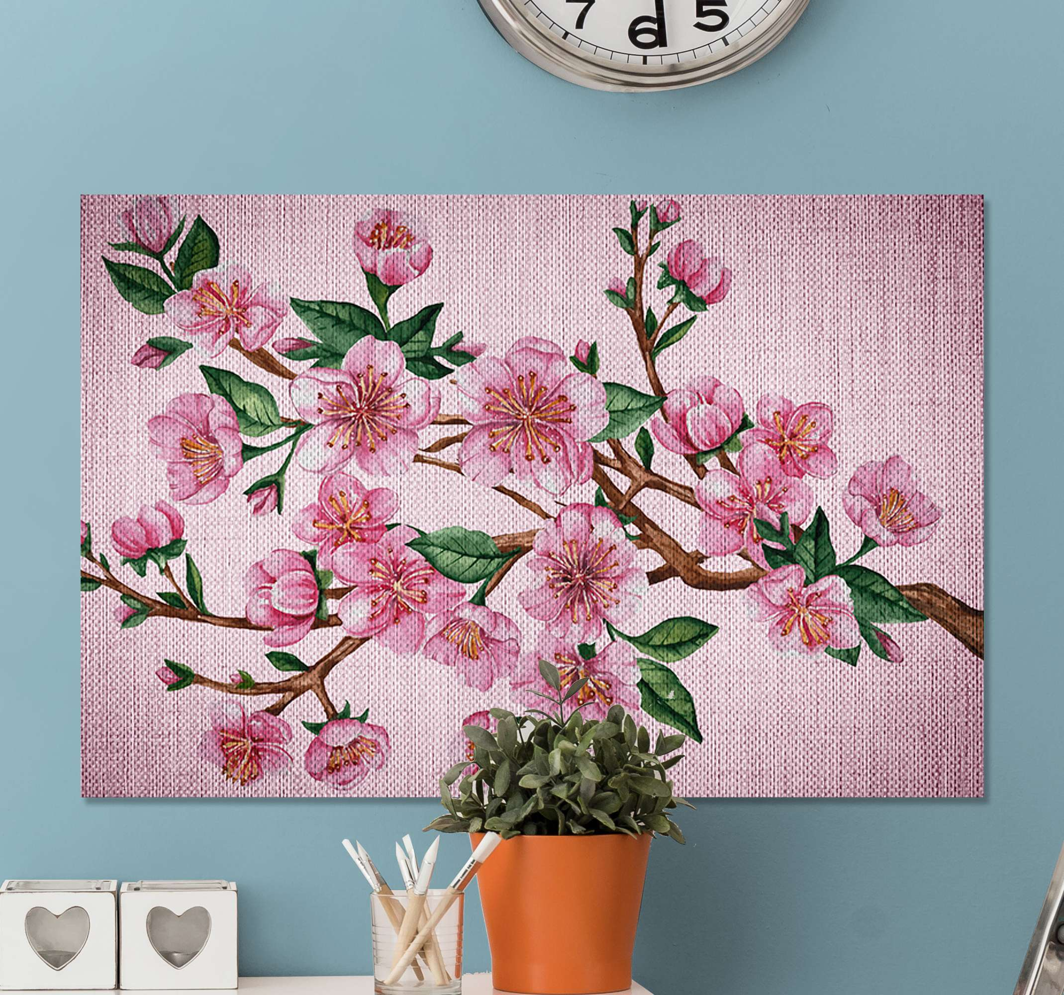 TenStickers. Pink Flower Covered Branch Tree canvas print. Pink flower canvas print which t features a beautiful image of a tree branch covered in a stunning pink flowers and leaves.
