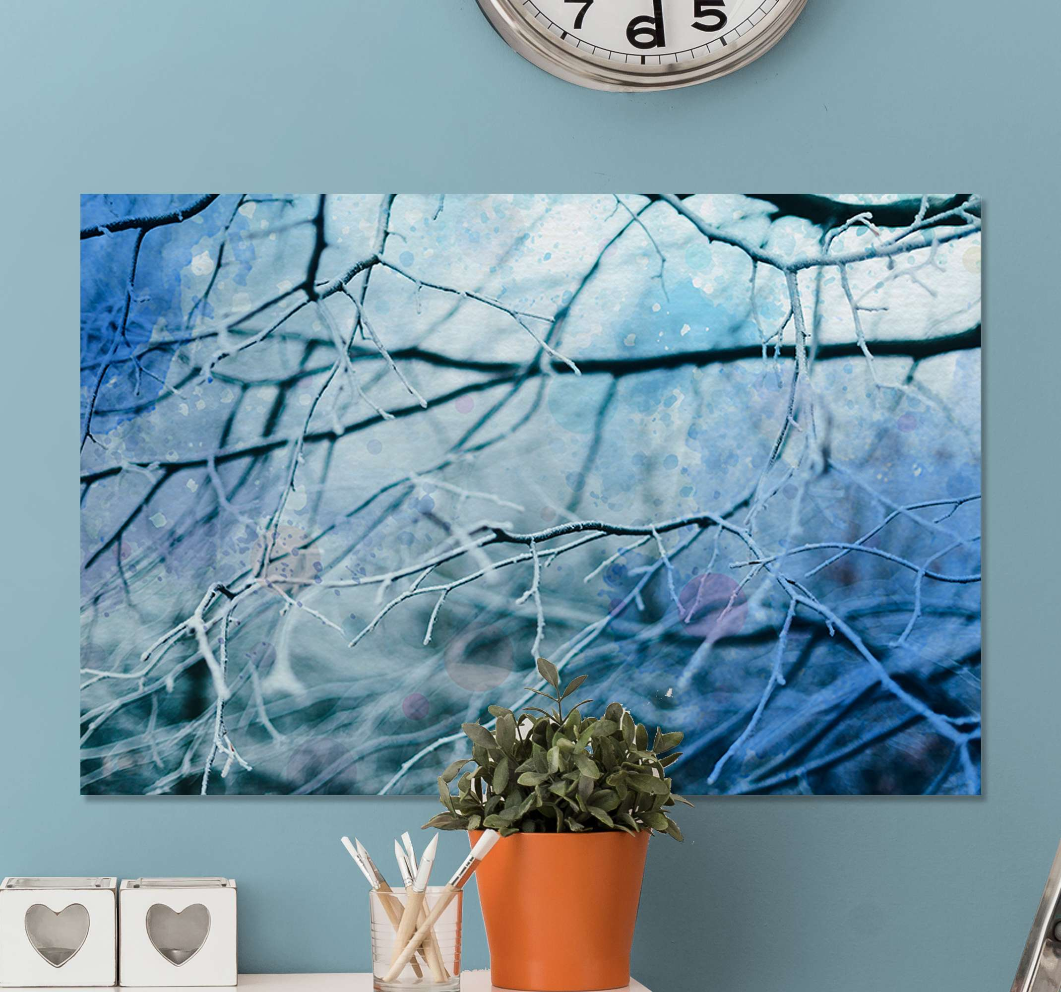 TenStickers. Winter Tree Branches canvas print. Winter tree canvas print which features a lovely image of a tree in winter with its branches covered in a thin layer of snow.