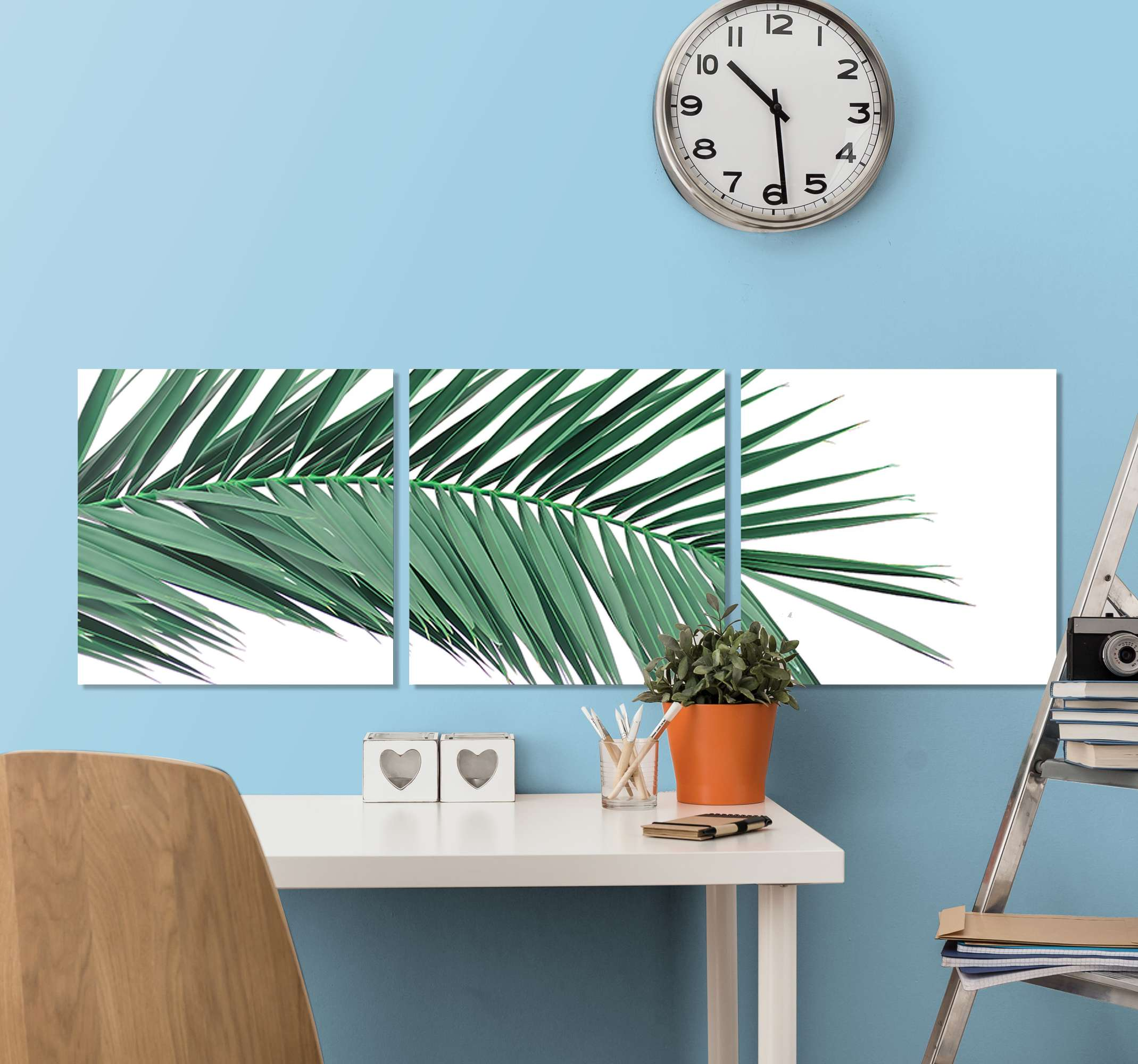 TenStickers. εκτυπώσεις σε φύλλα τροπικών φυτών. φυτό καμβά τοίχου με εικόνα ενός τροπικού κλάδου με φύλλα με λευκό φόντο. εγγραφείτε για έκπτωση 10%.