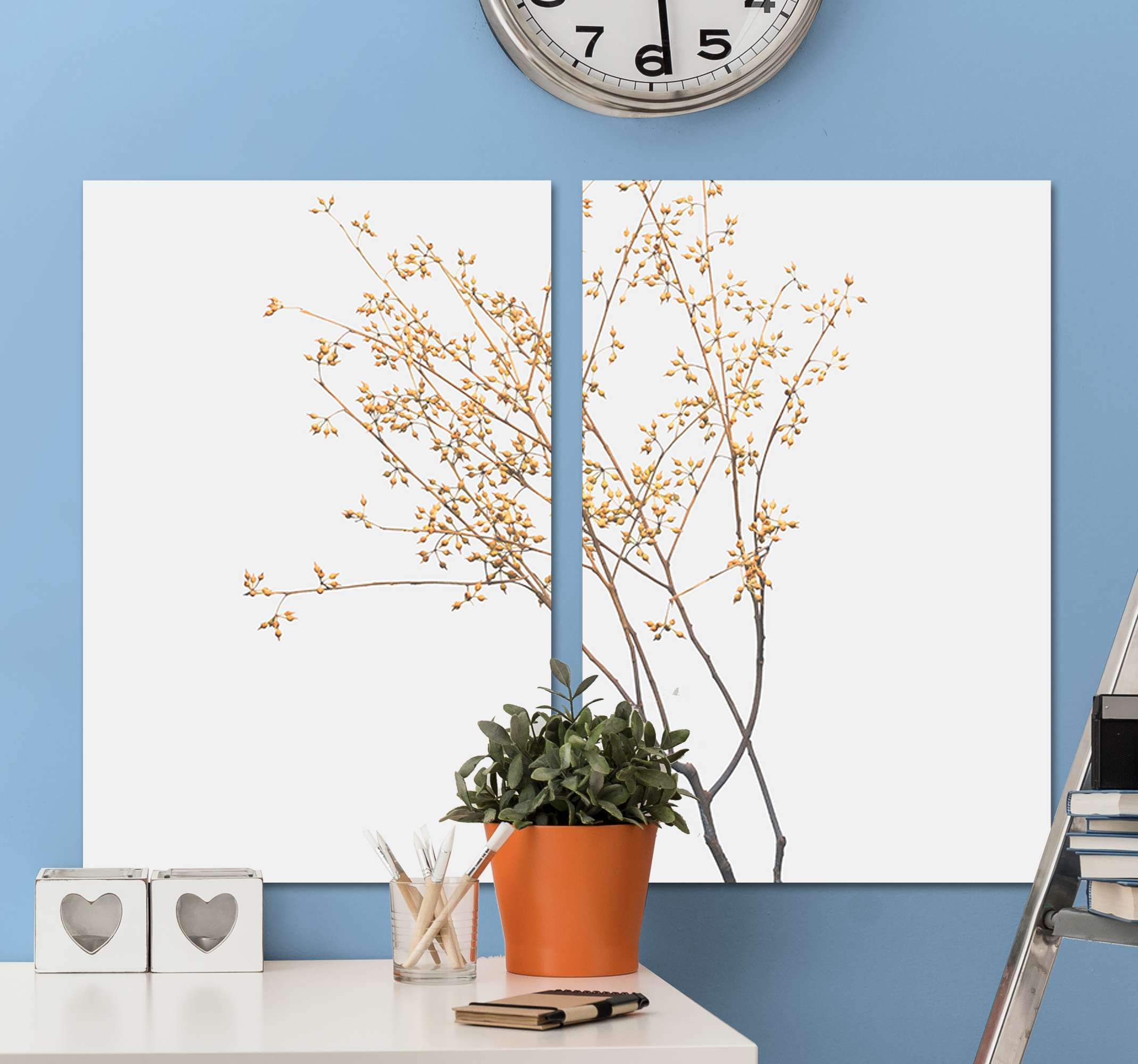 TenStickers. Autumn Branch Plant wall prints. Plant canvas print which features an image of a tree which looks to be in Autumn as it has no leaves. Choose your size now.