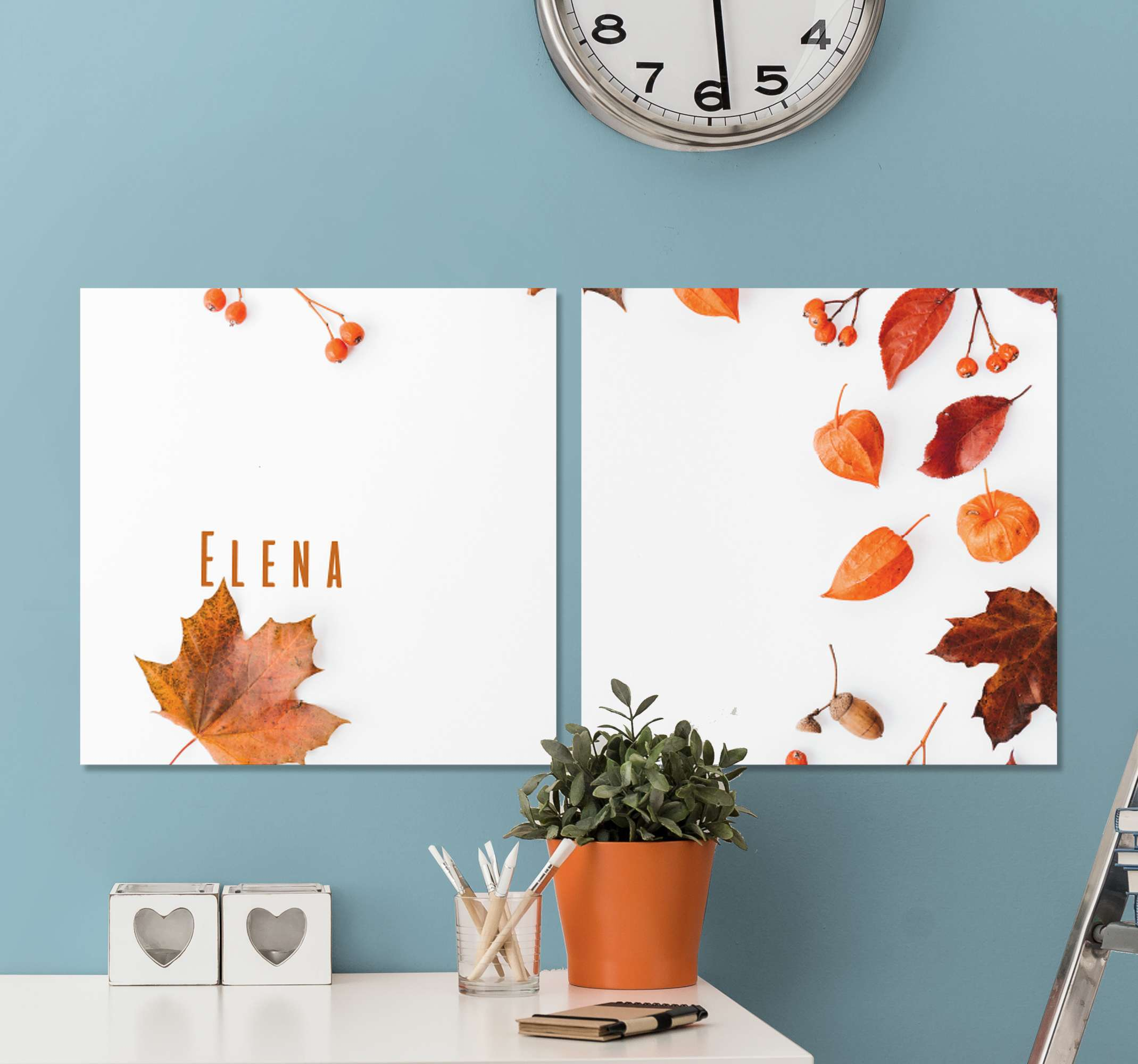 TenStickers. Personalised Autumn Leaf Plant wall prints. Personalised plant canvas which features an image of various Autumn leaves and berries with the option to add your name amongst them.