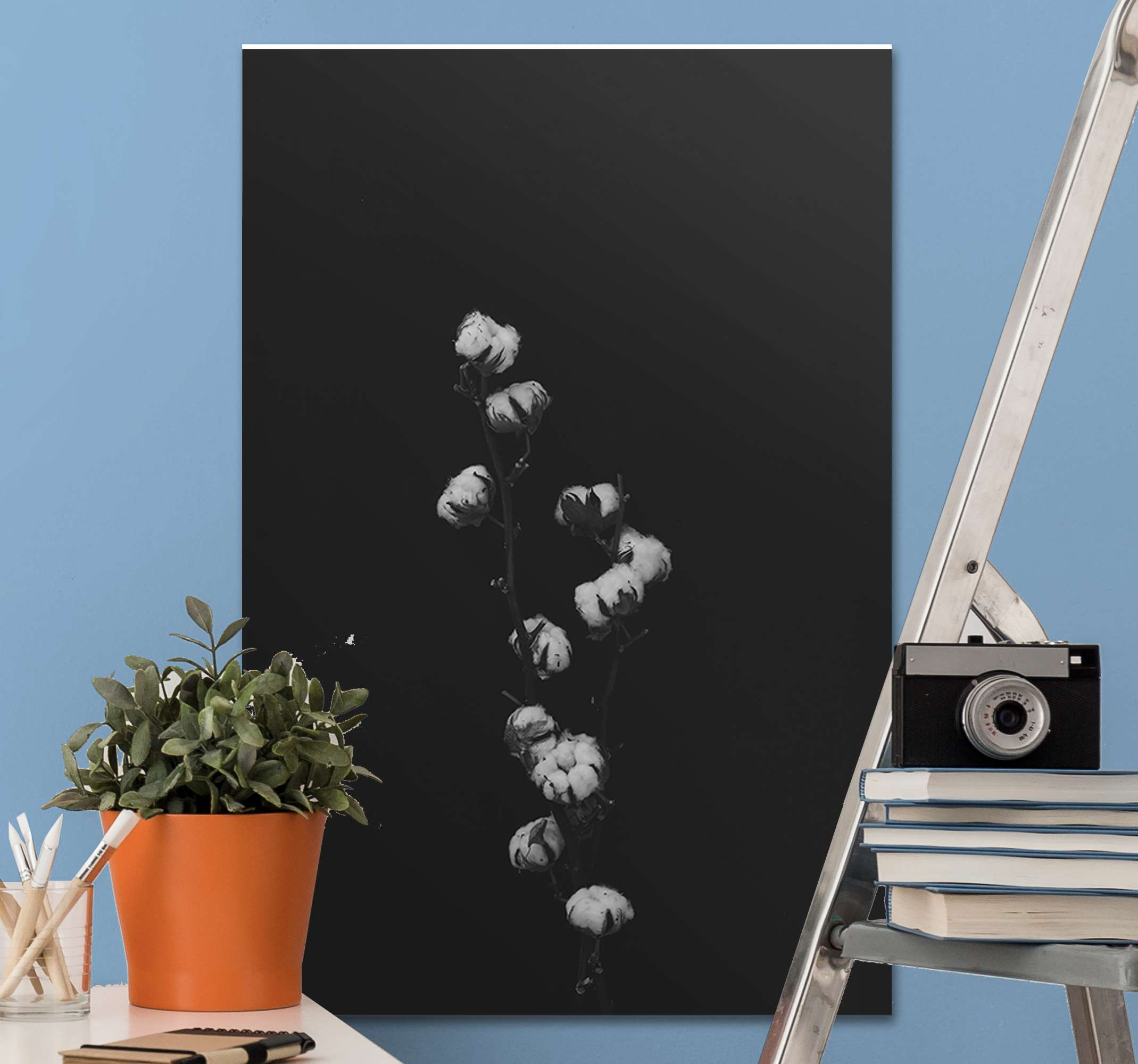 TenStickers. Cotton Plant wall print. Plant canvas art which features an image of a cotton plant in stunning shades of black and white. Extremely long-lasting material.