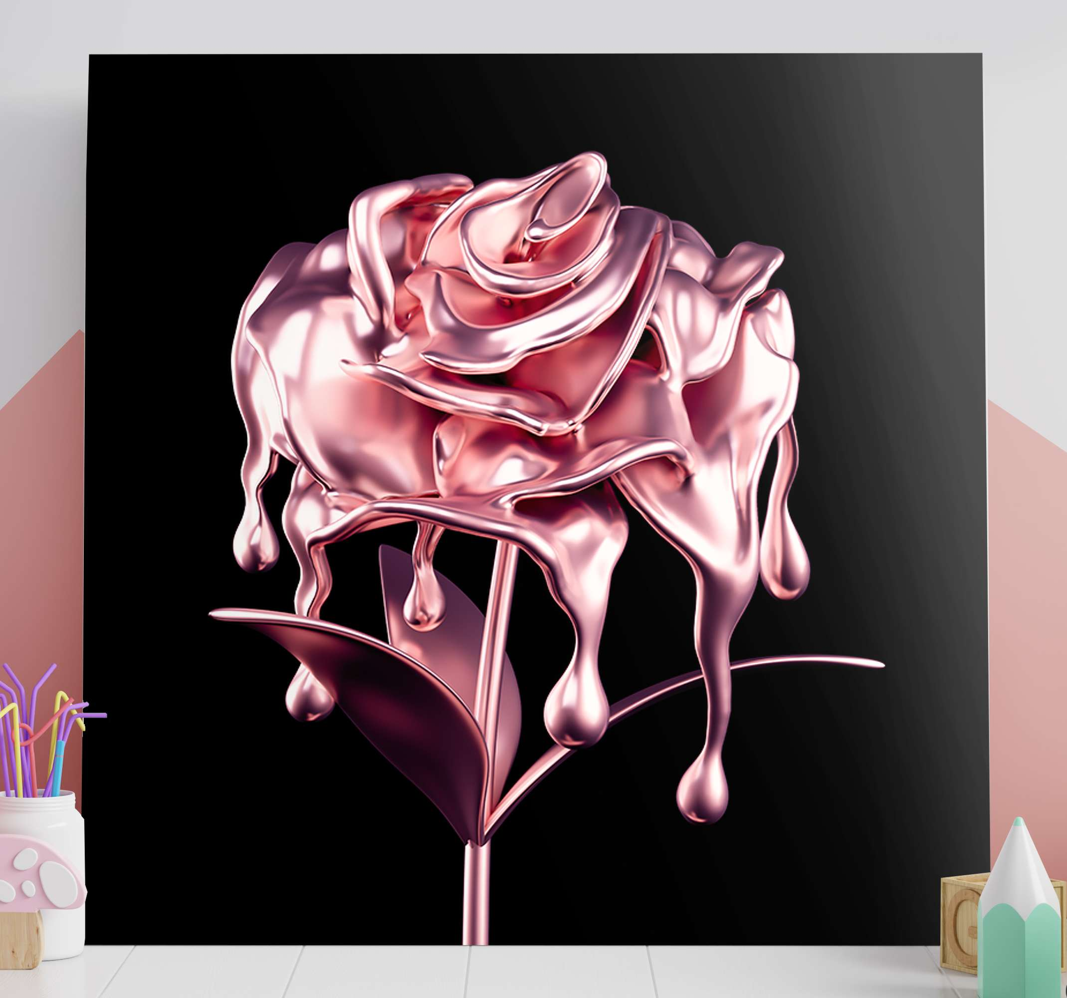 TenStickers. Melting 3D Pink Flower canvas. Pink rose canvas print which features a beautiful image of a pink flower which looks like it is made of metal melting. Discounts available.