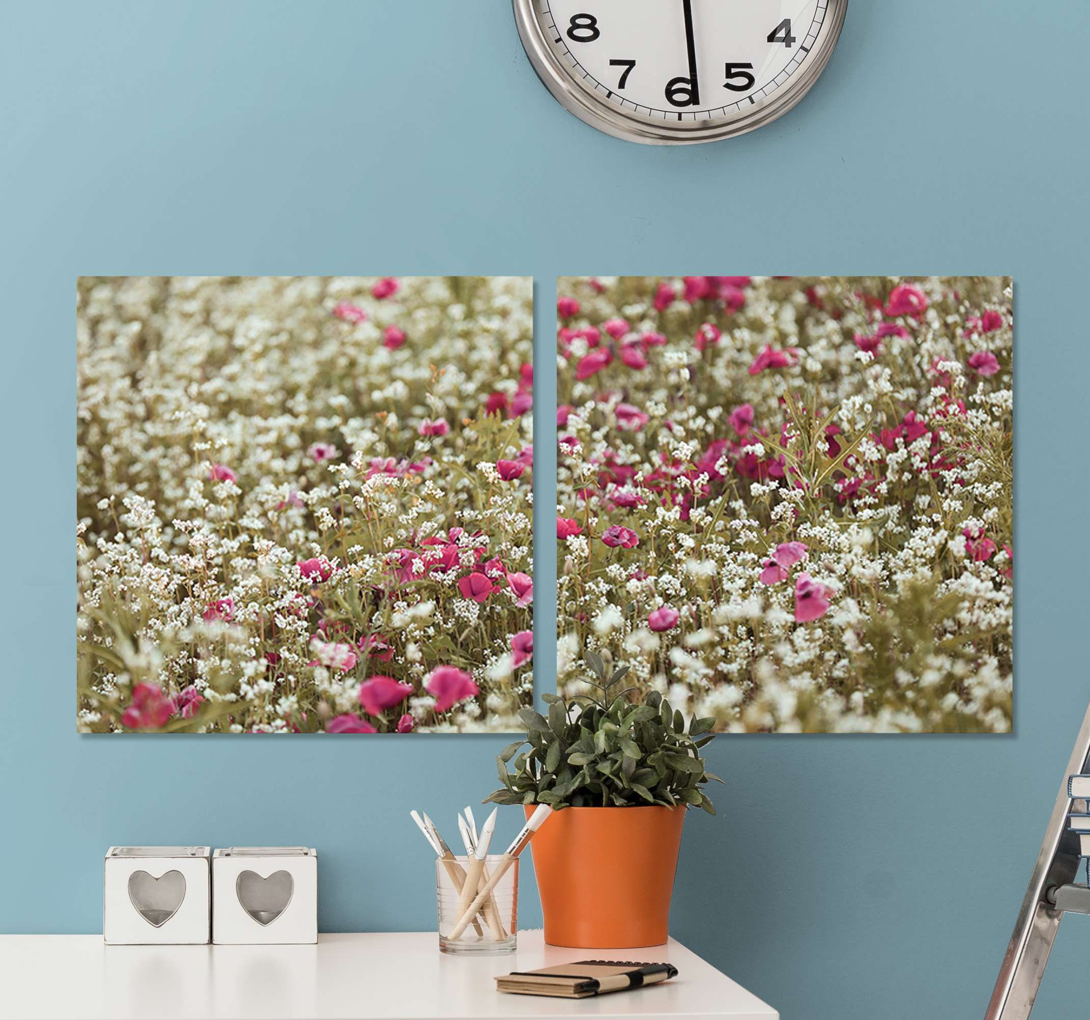 TenStickers. Poppy flowers floral canvas. A field of poppy flower canvas wall art to enhance the look on your space in a lovely and cute way. It is original and durable.