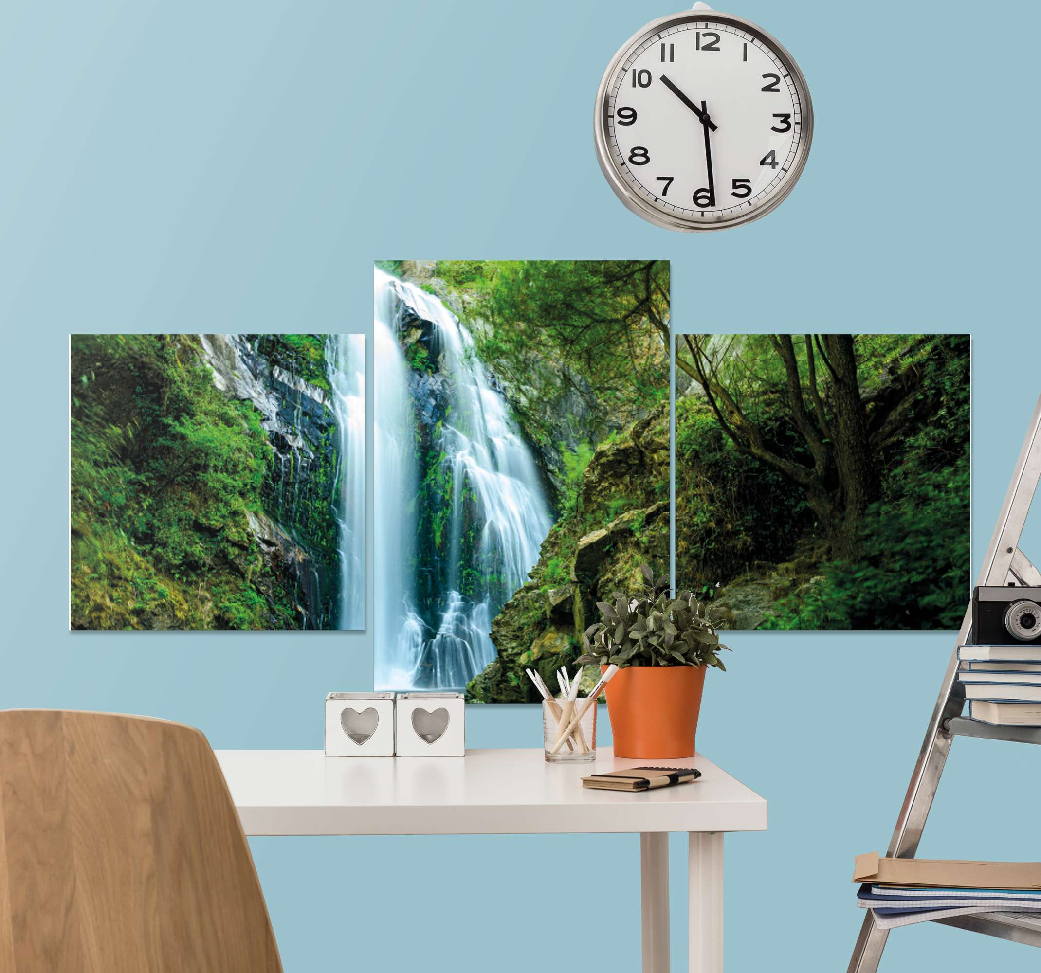 TenStickers. Waterfall in Forest canvas print. Waterfall canvas print which features a beautiful image of a natural waterfall deep within a green forest. Easy to apply.
