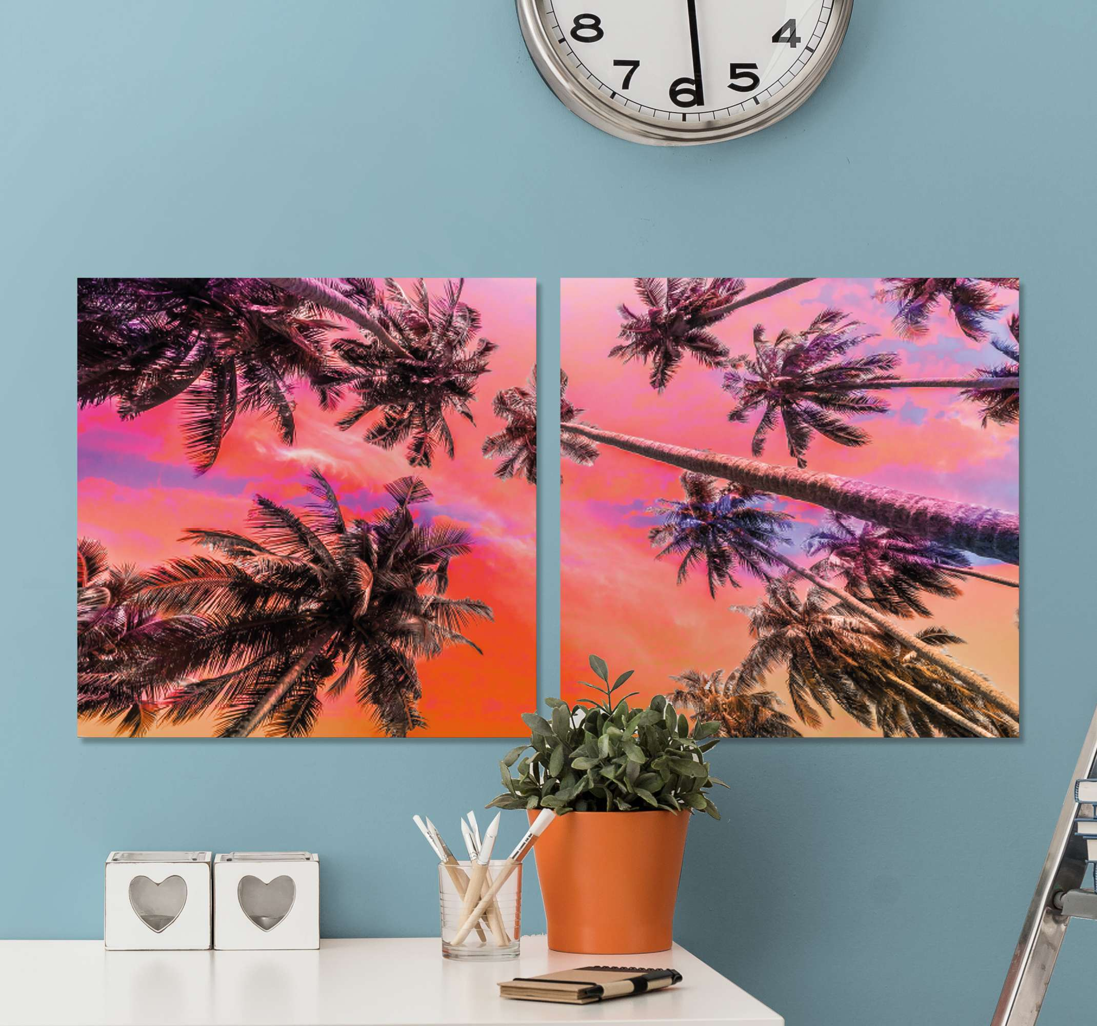 TenStickers. Sunset Palm Tree canvas print. Pam tree canvas which  features a stunning image of a group of palm trees in the sunset. This image was taken at Koh Lanta Beach, Thailand.