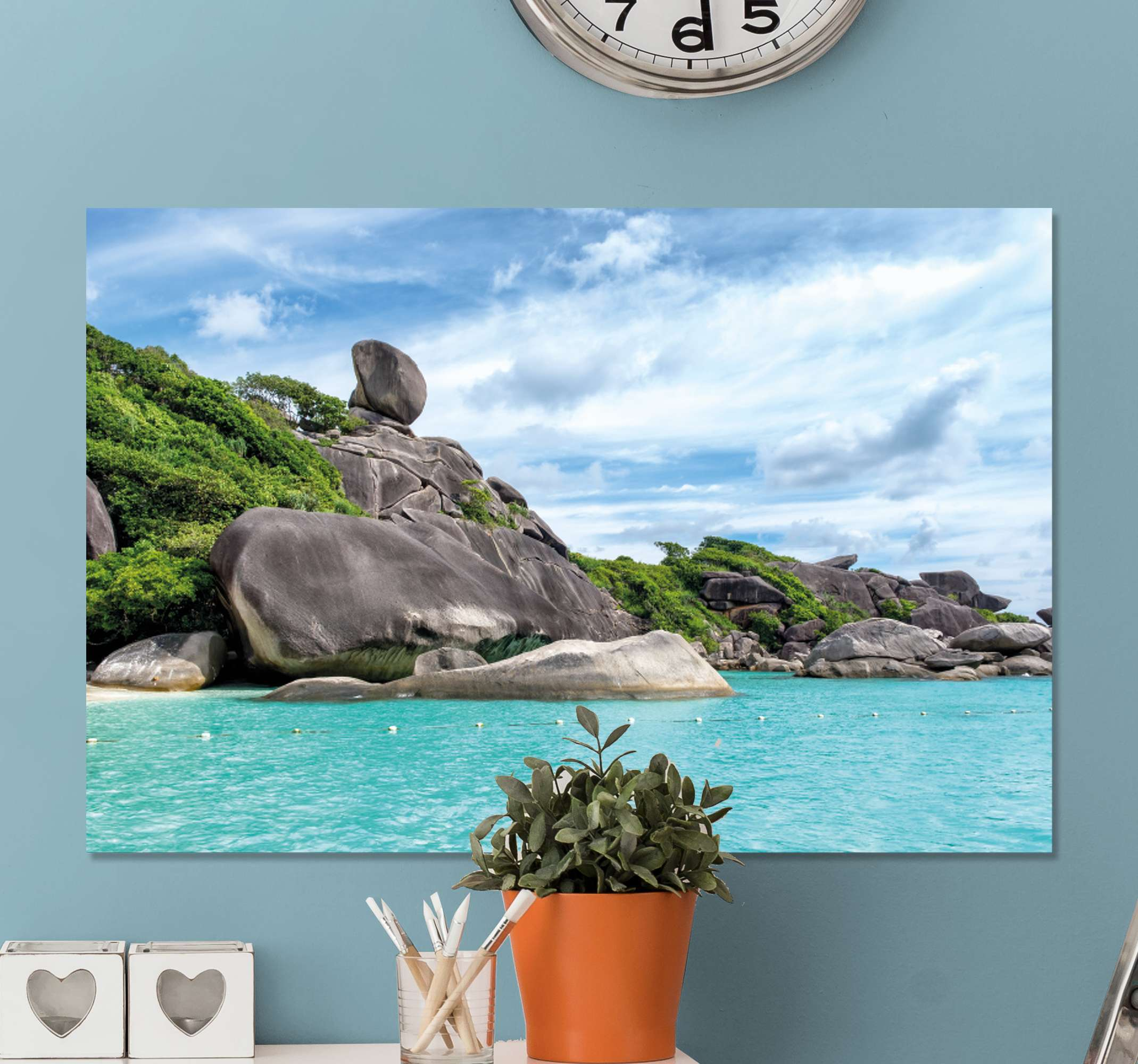 TenStickers. Tranquil Rocky Coastline landscape wall art. Landscape canvas print which  features a stunning image of a rocky coastline with beautiful clear waters surrounding it. Discounts available.