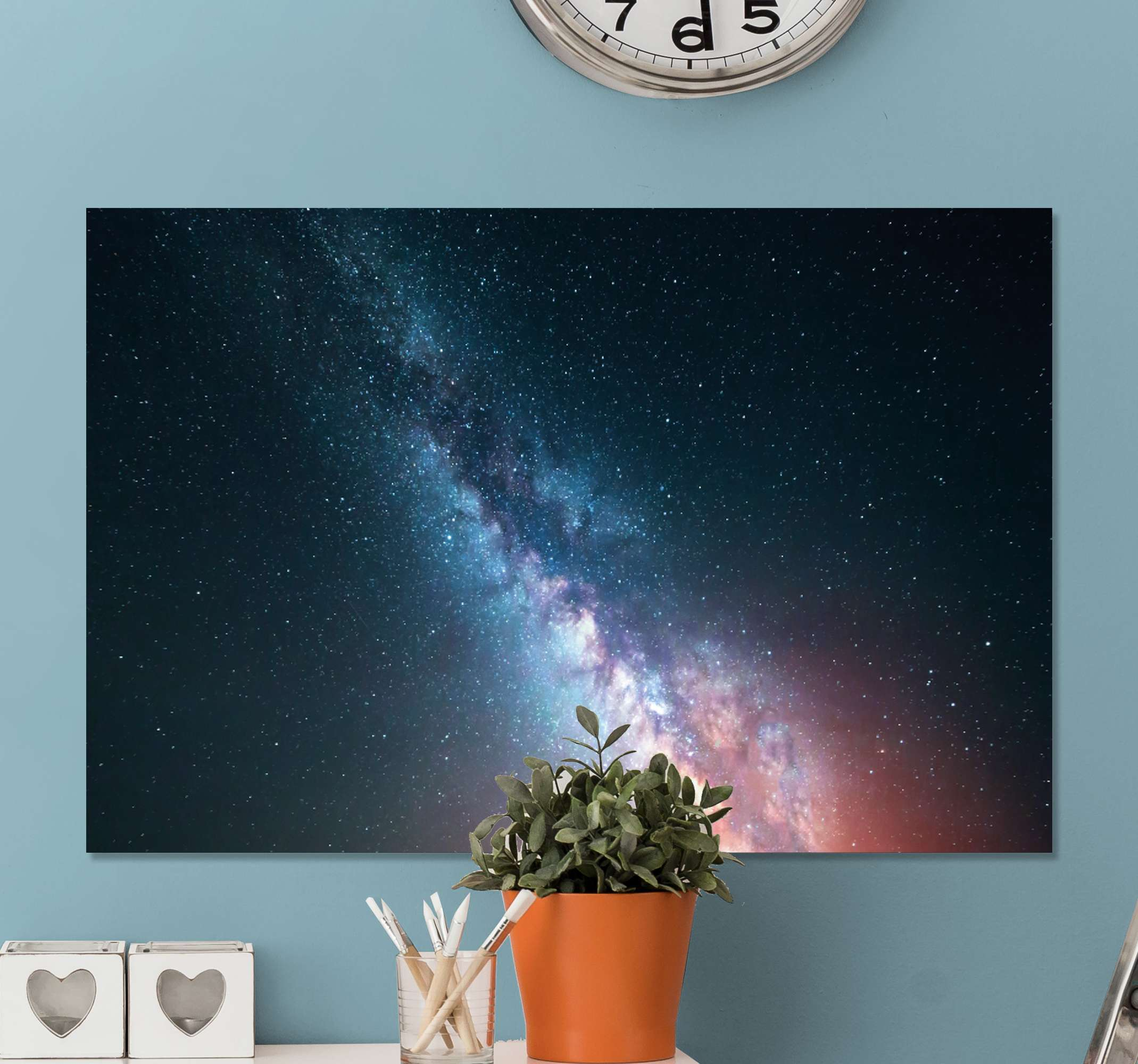 TenStickers. Star sky blue night modern art prints on canvas. Star sky blue night modern canvas wall art. Simple space canvas design illustrating the appearance of stars at night. It is original and durable.