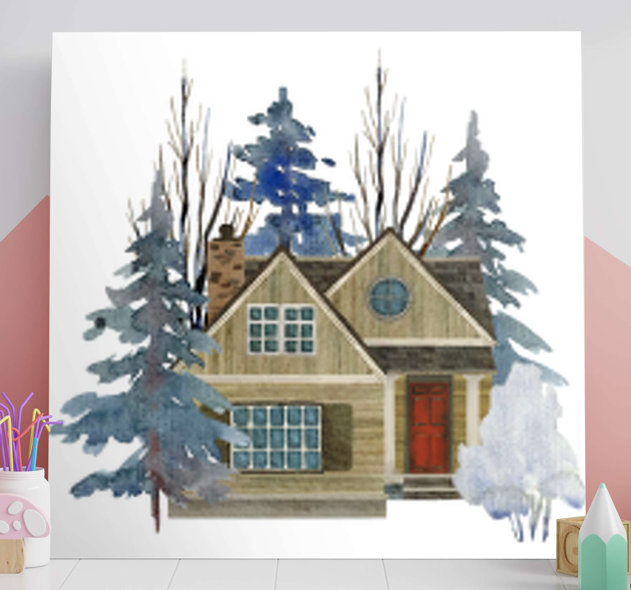 TenStickers. 乡村风格,乡村帆布墙艺术. 这个美丽的房子插图质朴的画布艺术适合装饰房子的任何部分。它可以放在客厅,卧室等地方。