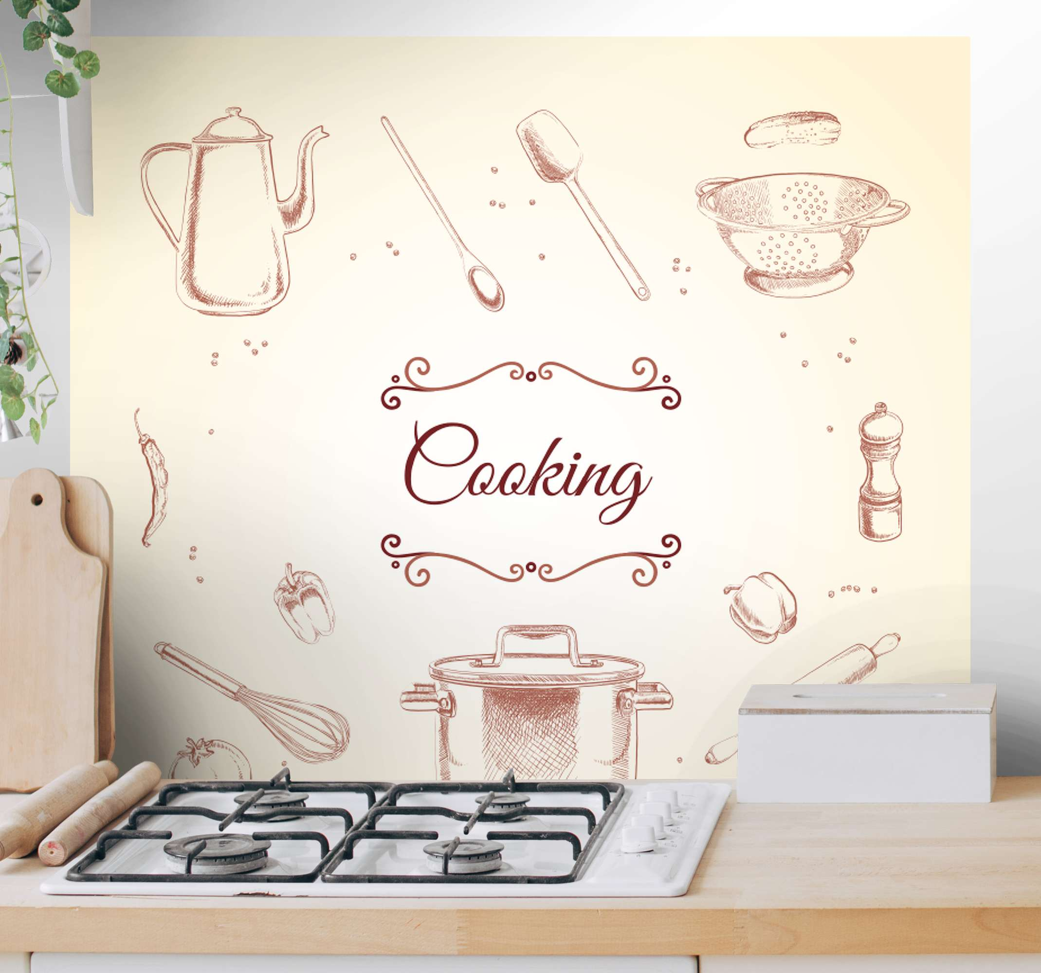 TenStickers. Rustic kitchen utensil rustic canvas wall art. Lovely and ideal kitchen canvas wall art decoration containing cooking utensils, spices and vegetable design illustrations.