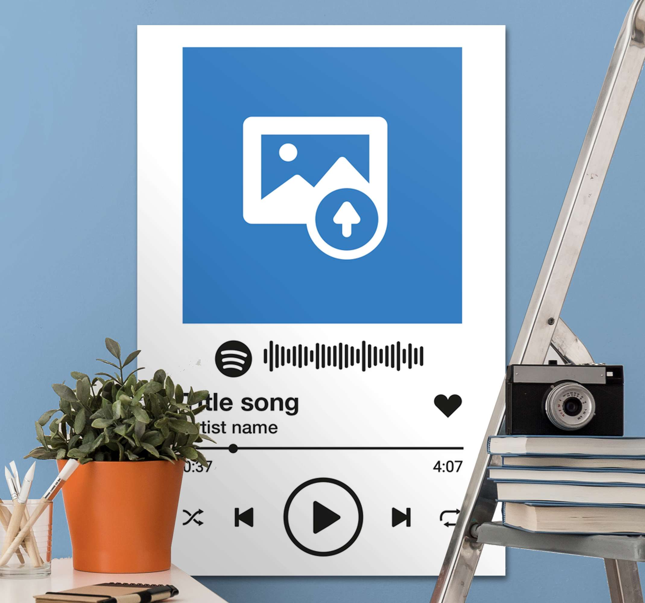 TenStickers. Spotify white background music canvas wall art. Decorate your space with our customizable Spotify white background music canvas art. Printed in quality finish and highly durable.