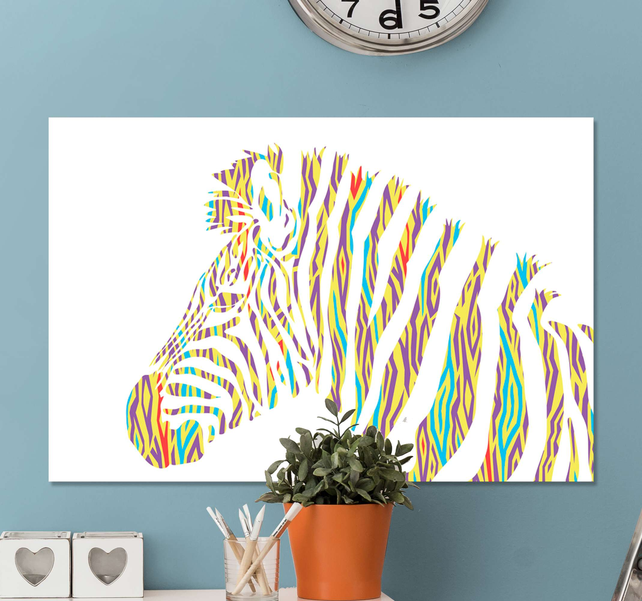 TenStickers. Vintage Zebra Animal Canvas Print. This animal canvas print is a colourful portrait with vibrant yet delicate colours of a Zebra in a unique, vintage style. Gift it to someone special!