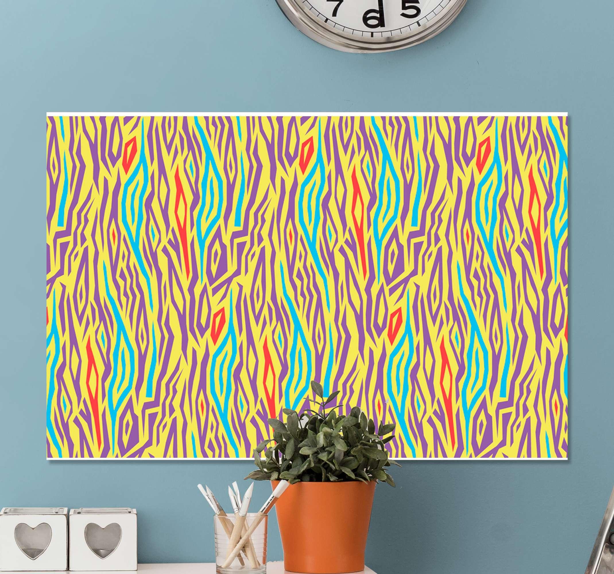 TenStickers. Vintage farvet zebra lærred udskrifter. Zebra-lærredstryk, der har et zebramønster i vidunderlige nuancer af gul, grøn, lilla og rød. Materialer af høj kvalitet.