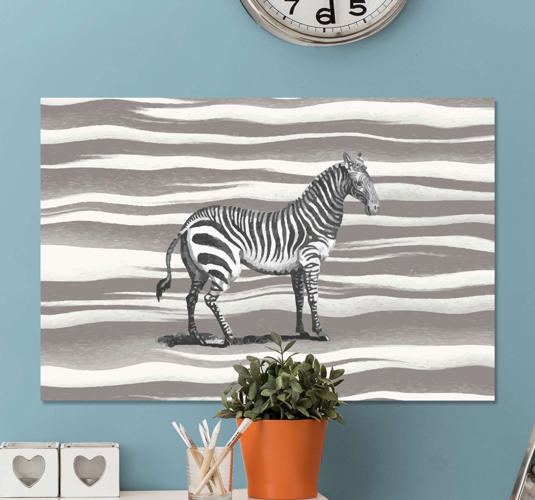 TenStickers. Vintage Grey Scale zebra canvas prints. Zebra canvas print which features an image of a zebra which looks like it has been drawn with a grey zebra print background.
