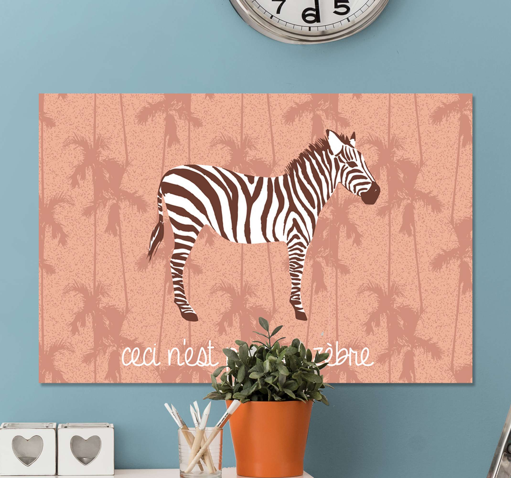 TenStickers. Zebra with brown palms canvas prints. A vintage textures background canvas with zebra and palms. Prefect to decorate any space and it would leave an enhancing look on a space.