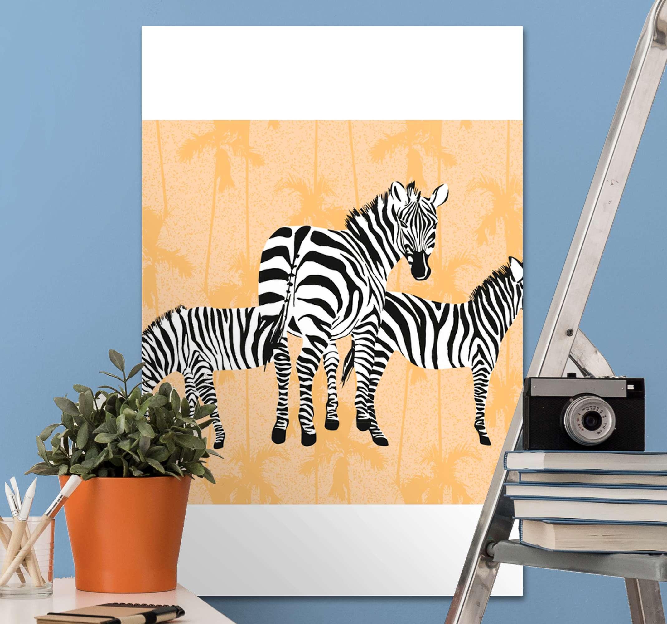 Tenstickers. Palmer och zebror duk tryck. Zebra canvas med en bild av 3 zebror i olika positioner med ett mönster av orange palmer bakom sig.