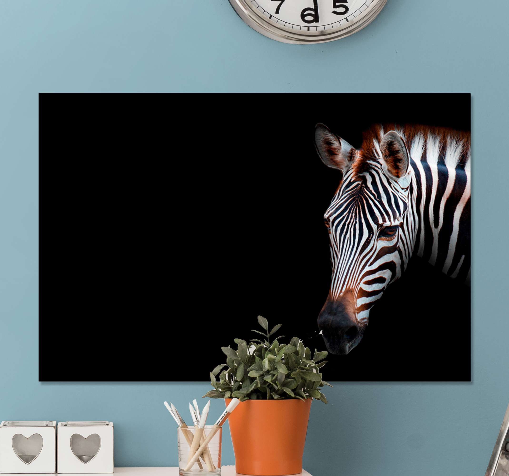 TenStickers. Pop Art zebra canvas prints. Zebra canvas print which  features a realistic image of a zebra with a black background. Available in various sizes. High quality.