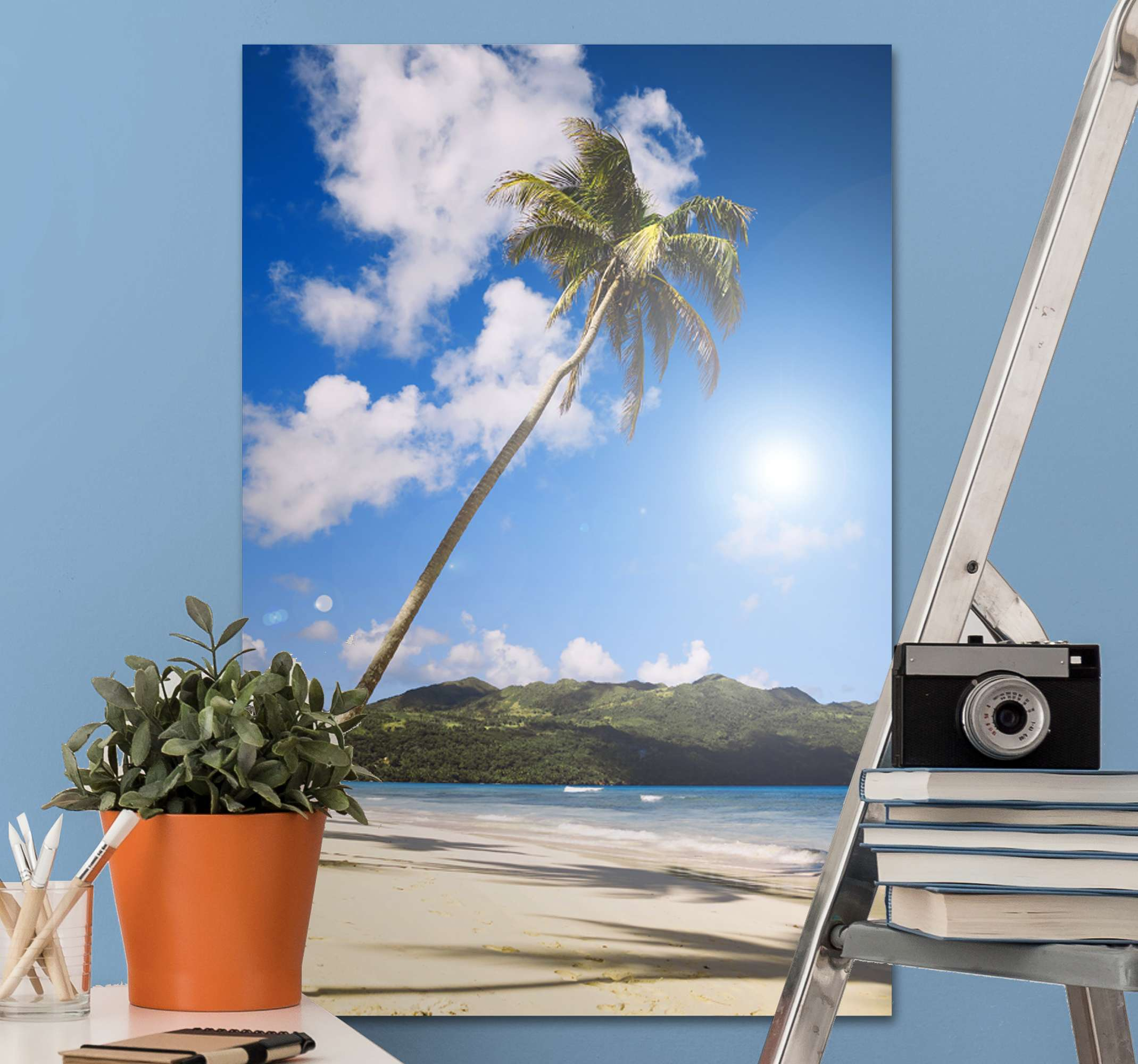 TenStickers. Beach sun palms landscape wall art. Pretty beach and palm canvas art print. A design to transform the look on your space and install an amazing atmosphere of serenity.