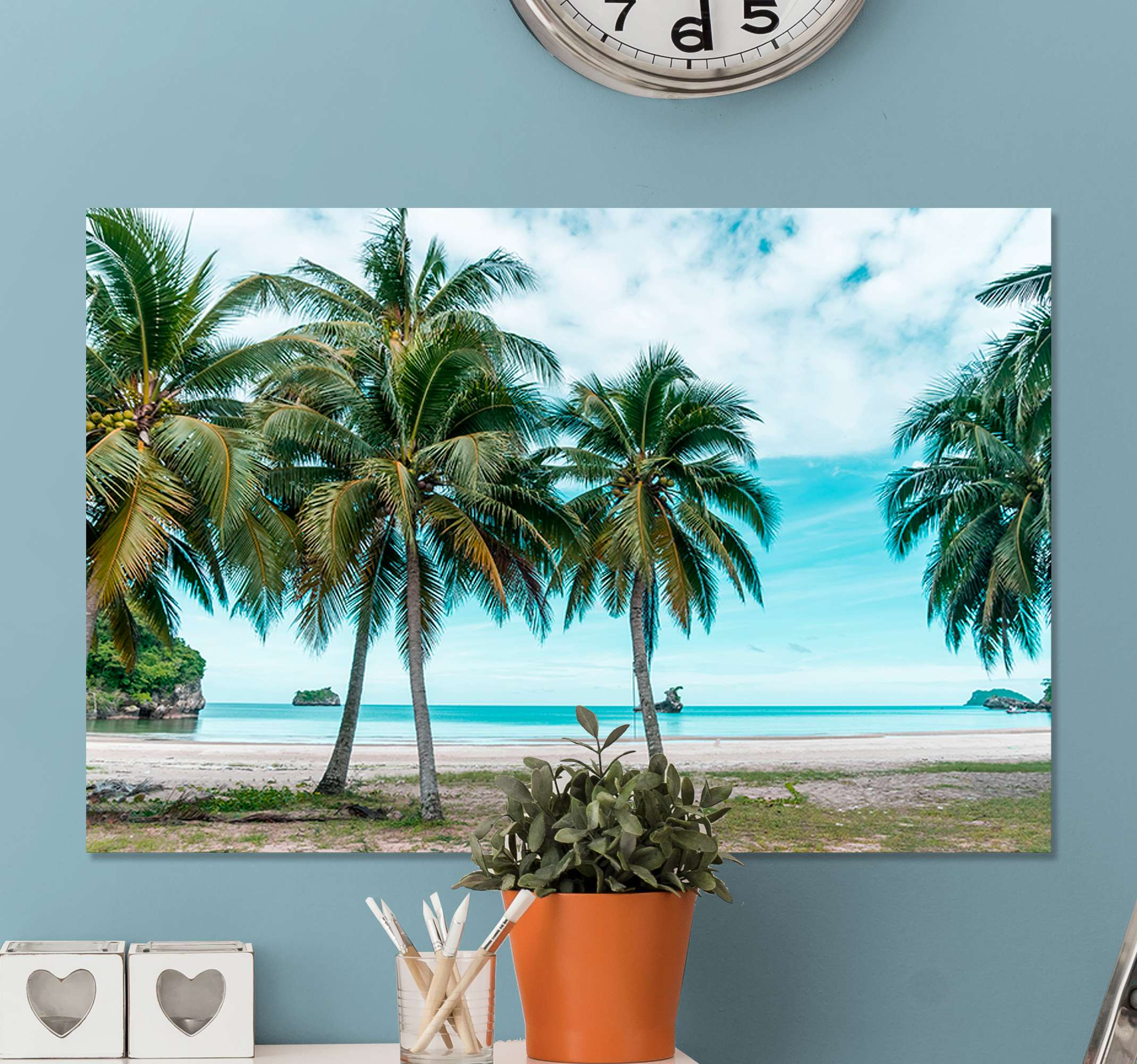 TenStickers. Sea beach palms sand landscape wall art. Lively up your home and and impress your guest with this amazing nature soothing landscape canvas prints. Made with quality material and durable.