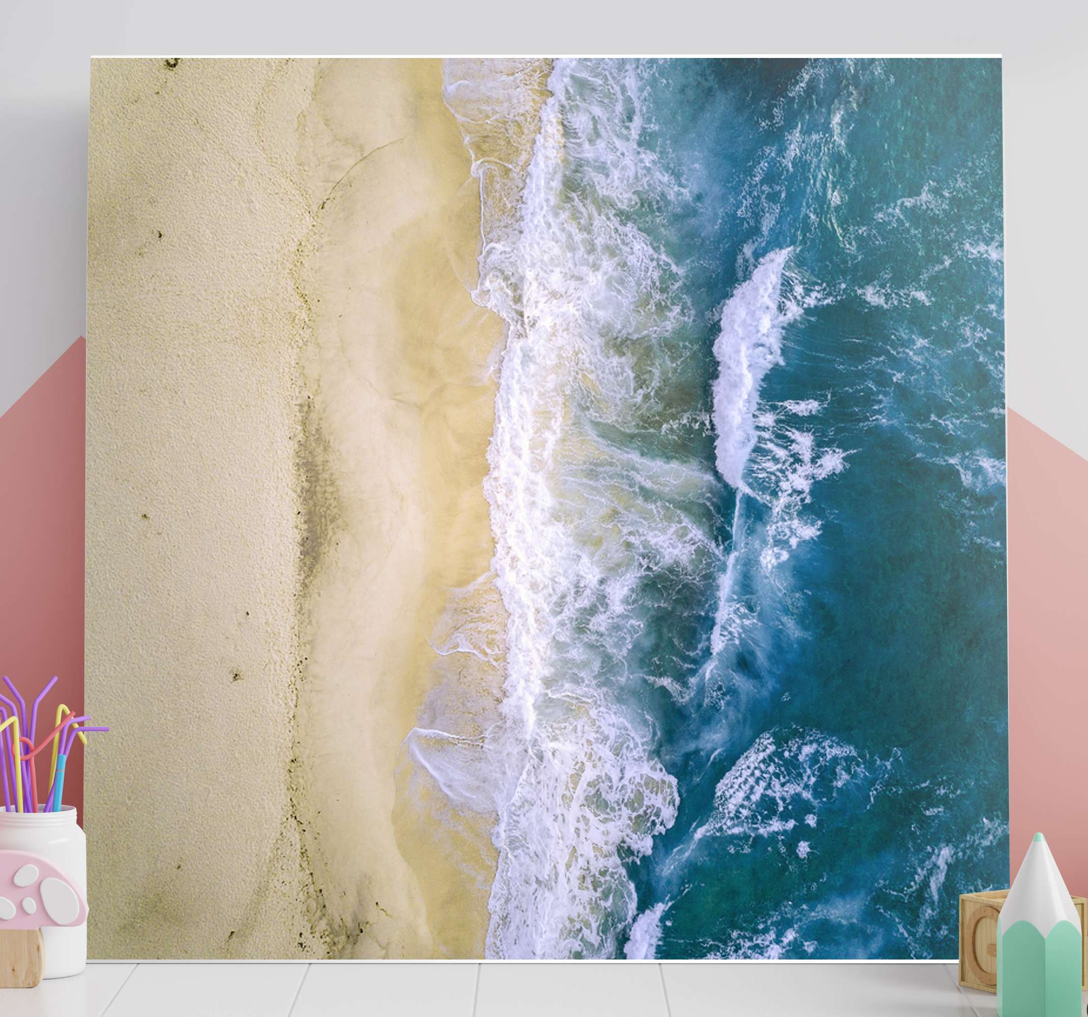 Tenstickers. Havssand blå landskap vägg konst. Alla dina gäster kommer att bli förvånade och du kommer att kunna stolt visa upp din nya dekoration som alla kommer att avundas dig.
