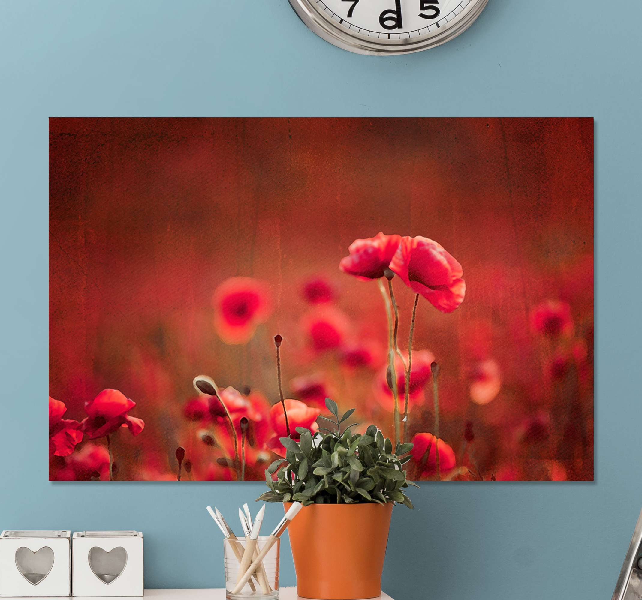 TenStickers. Poppy fields master bedroom canvas wall art. Poppy fields canvas wall art for master bedroom, living room, office and other space decoration. The product is durable and printed in quality finish.