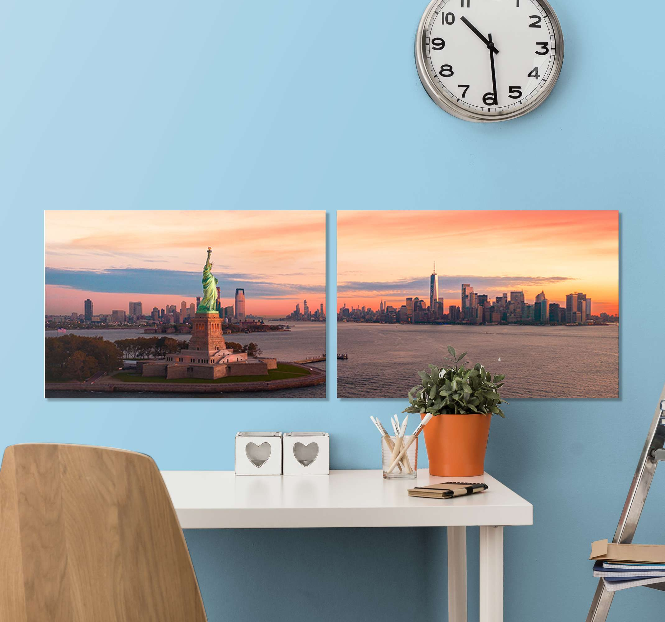 TenStickers. 뉴욕 마스터 침실 캔버스 벽 예술. 아름다운 뉴욕시의 스카이 라인 캔버스를 두 개의 캔버스로 만들어 집, 사무실, 라운지, 방문자 방, 비즈니스, 공간 등을 아름답게 꾸며보세요.