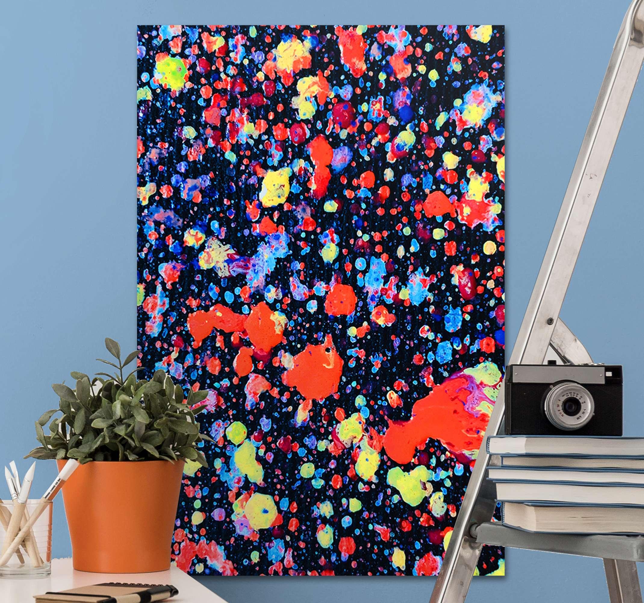 TenStickers. Eksplosion farver soveværelse lærred væg kunst. Giv din kunstneriske personlighed liv med tekstur og dybde i denne farveeksplosioner abstrakt lærred væg kunst.