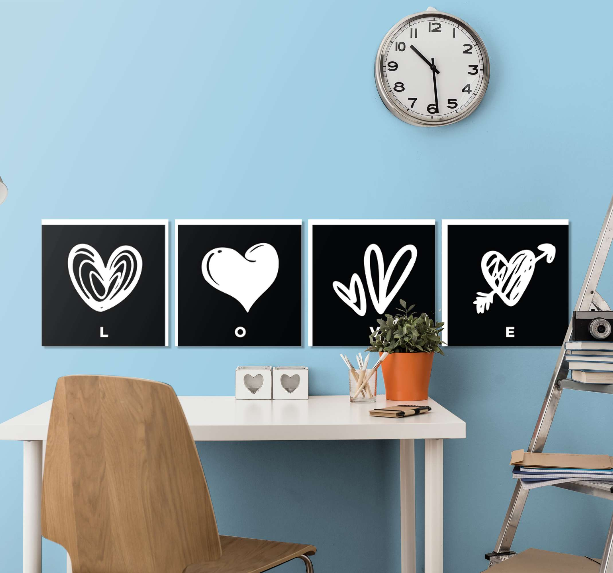TenStickers. Black and white hearts Master bedroom canvas wall art. Black and white hearts canvas art for bedroom  and other spaces. The canvas is printed in quality finish, durable and resistant to fading and UV light.