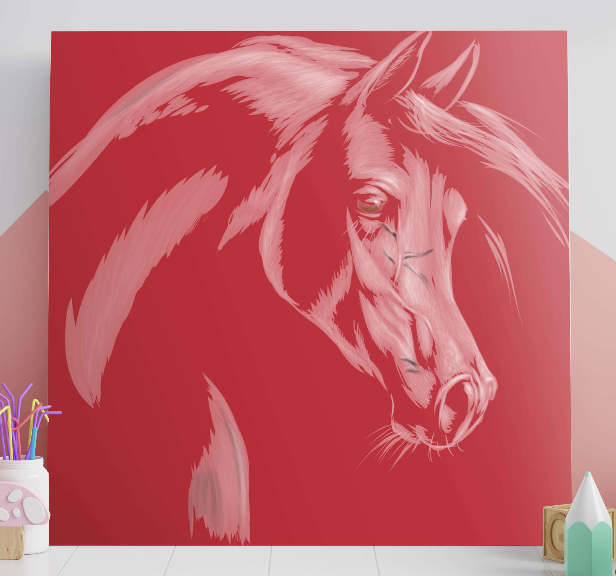 TenStickers. Quadro stampa cavallo Tono rosso. Quadro di cavallo che presenta una meravigliosa immagine di un cavallo colorata in rosso con uno sfondo rosso. Iscriviti per uno sconto del 10%.