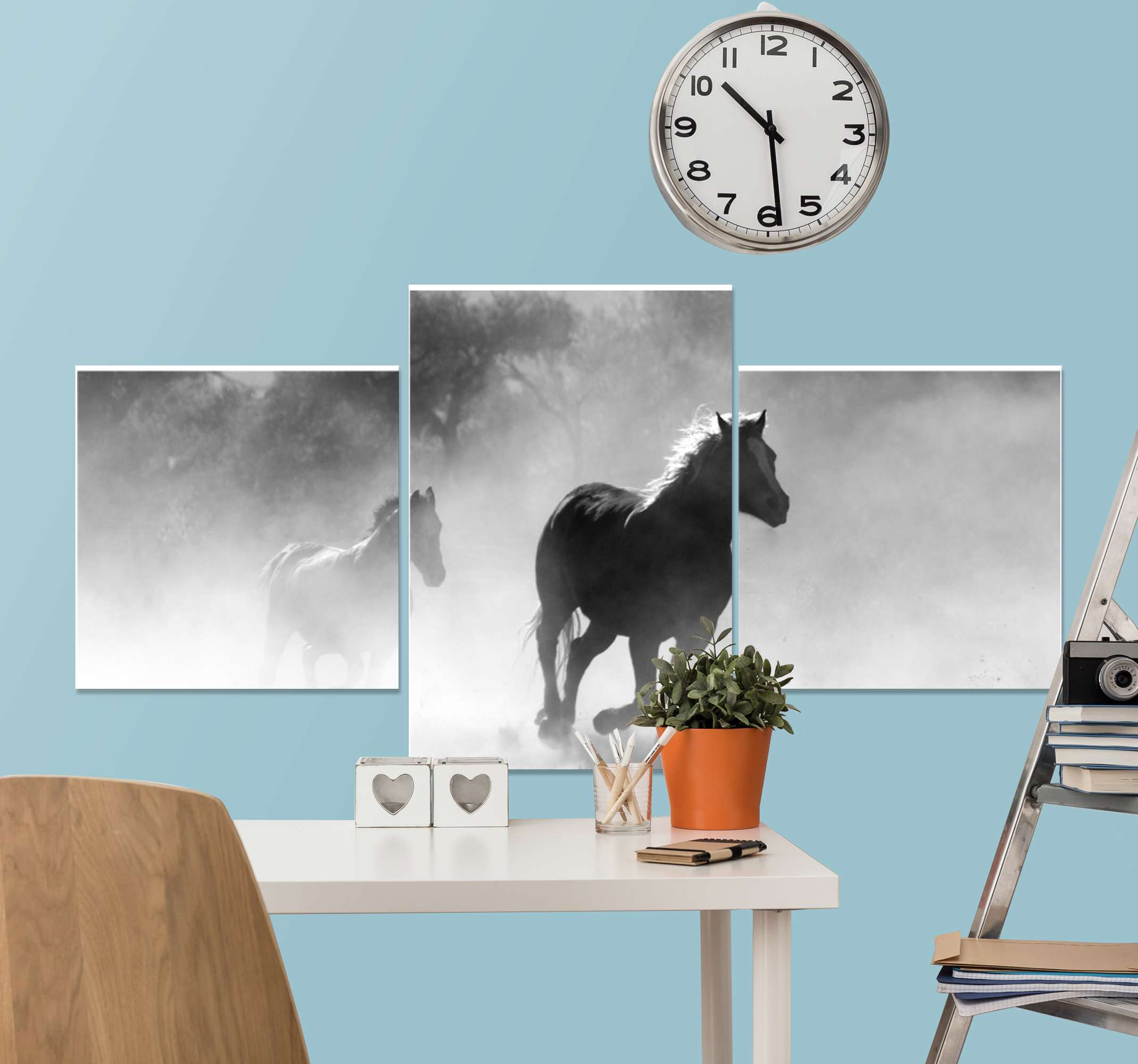 TenStickers. Black and White Triple horse canvas. Horse canvas which features an image of two horses galloping through a forest. Extremely long-lasting material. High quality.