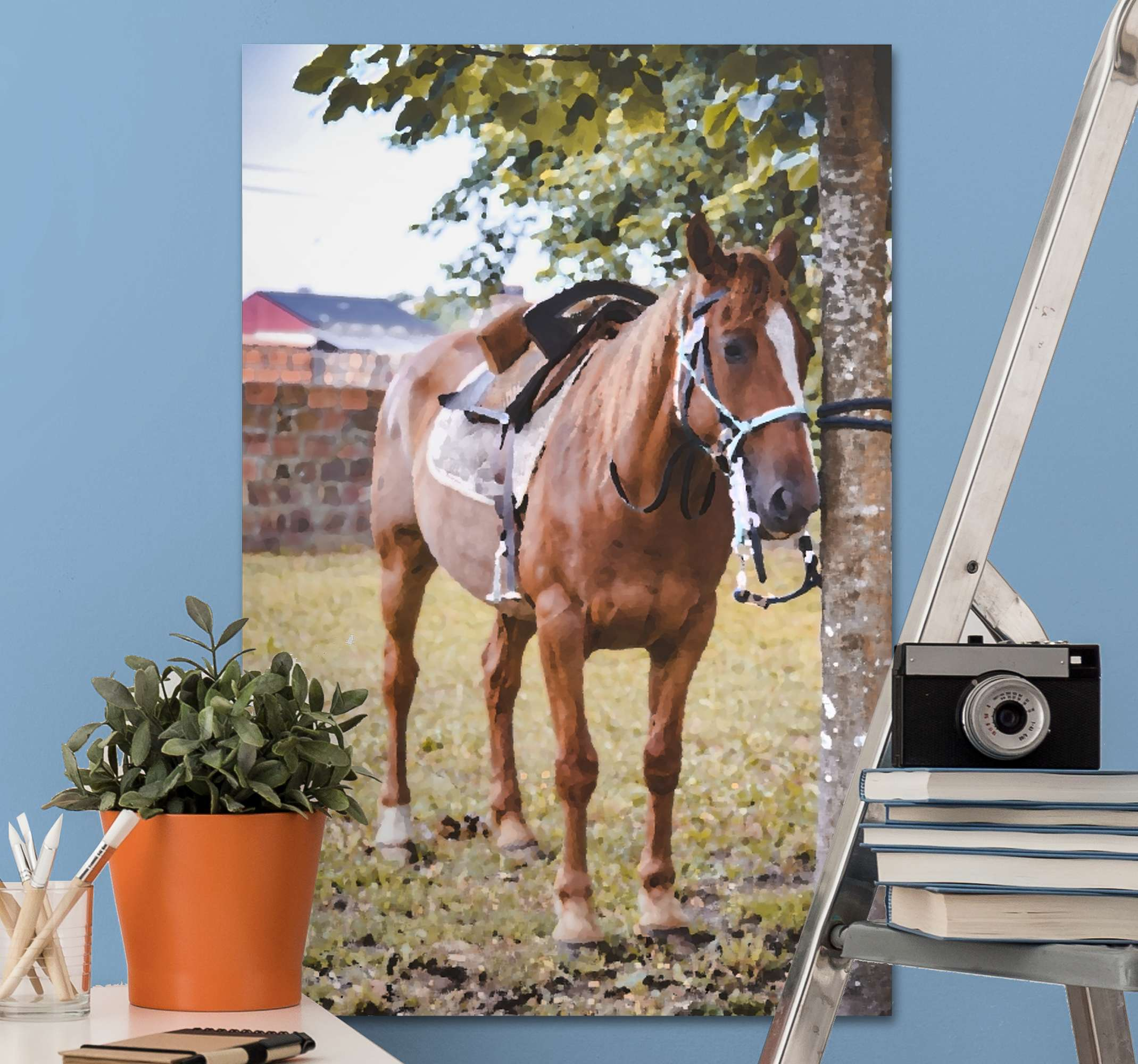 TenStickers. Horse under a tree canvas print. Horse canvas print which features a stunning image of a horse tied to a tree on a farm. Sign up for 10% off. High quality.