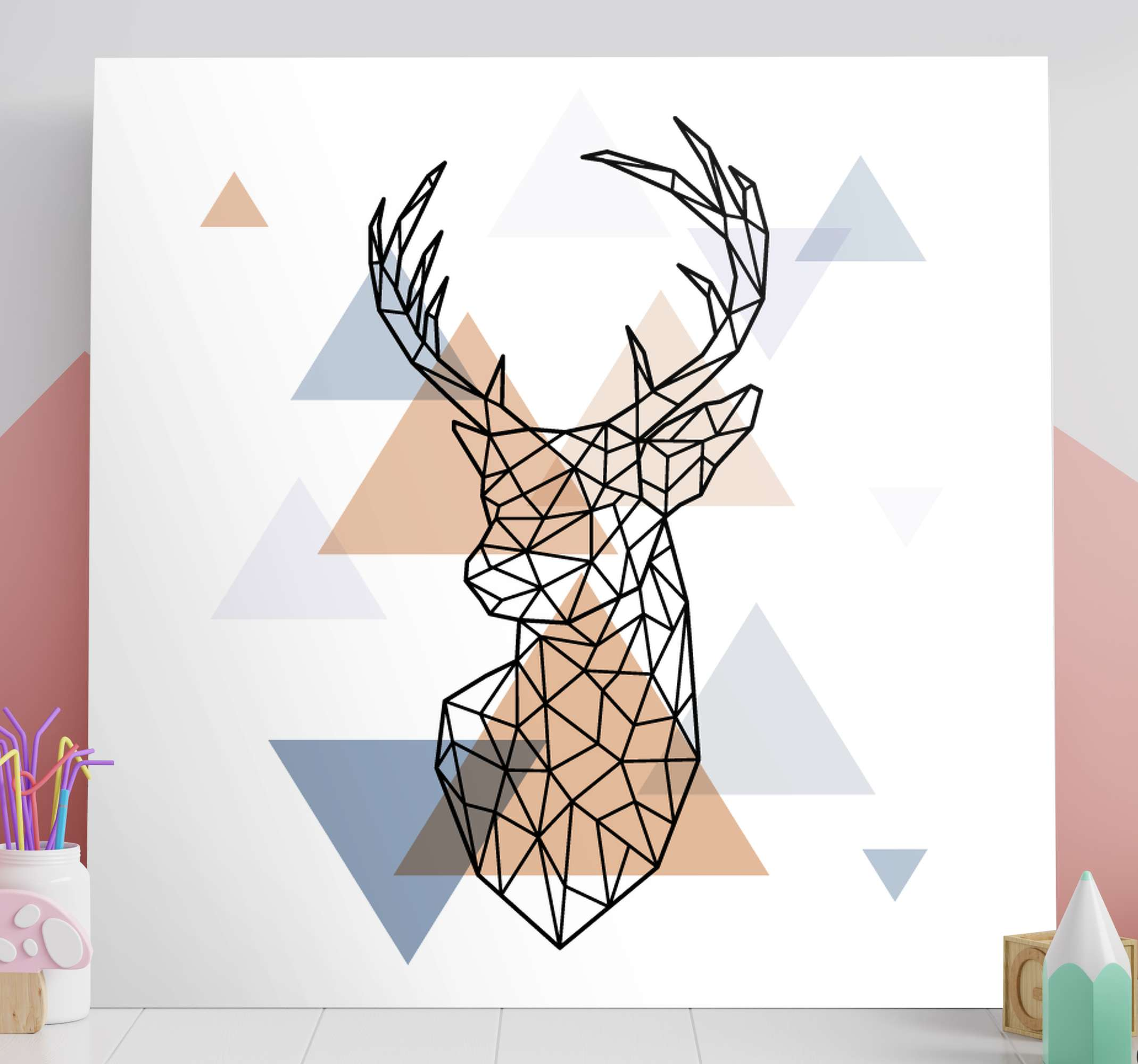 Origami Deer Animal Canvas Print Tenstickers