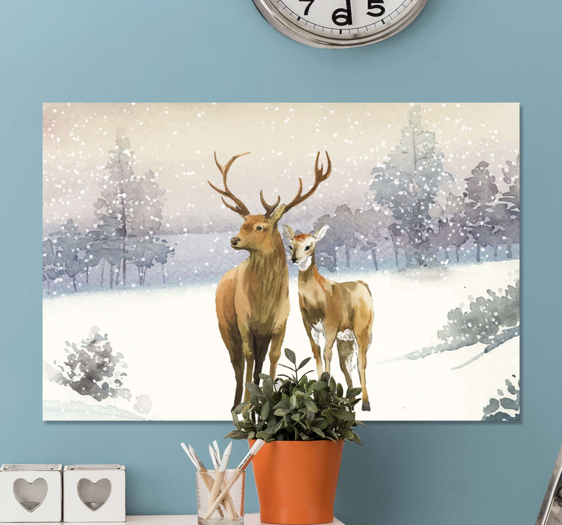 TenStickers. Family deer Stag canvas prints. Winter landscape with deer family canvas art - Suitable to decorate any space in the home, it is durable, made of quality material and does not fade.