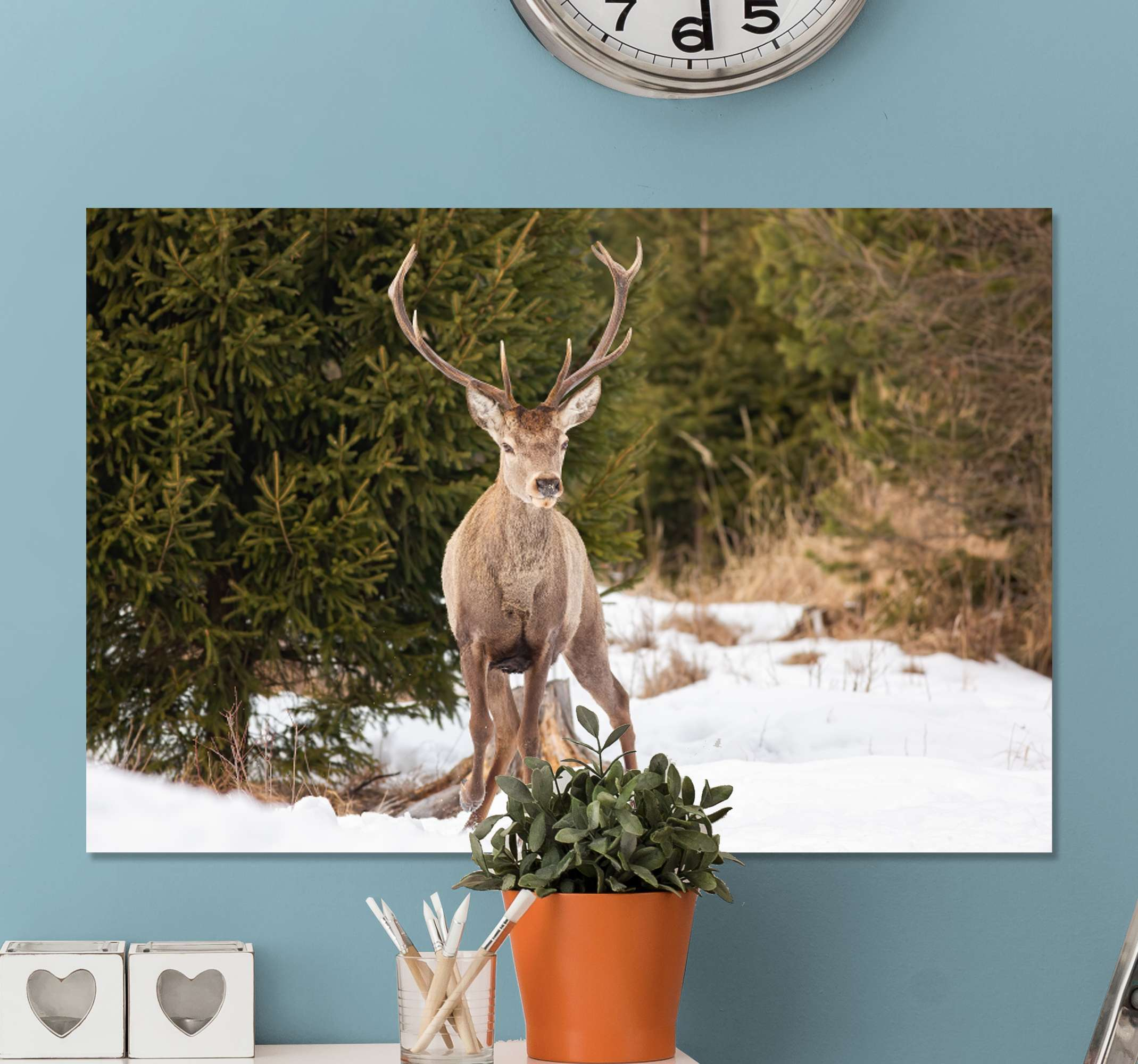 TenStickers. Winter landscape with Stag canvas prints. High picture quality printed winter landscape with deer canvas art. Buy this animal arts canvas print from us and you would not regret it.