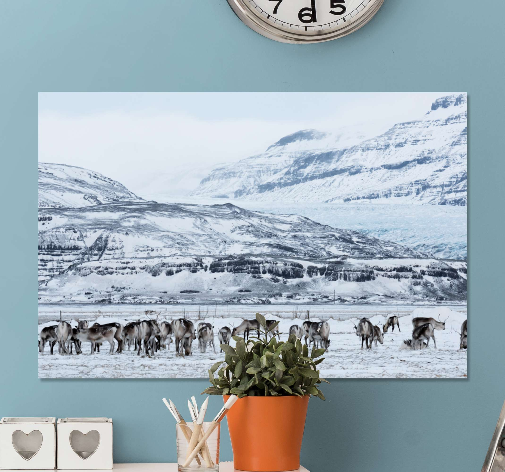 TenStickers. Deer snowy landscape Stag canvas prints. An amazing landscape with stags canvas art. The design illustrates  stag herds on a snowy mountain, moving freely and looking for food on the ground.