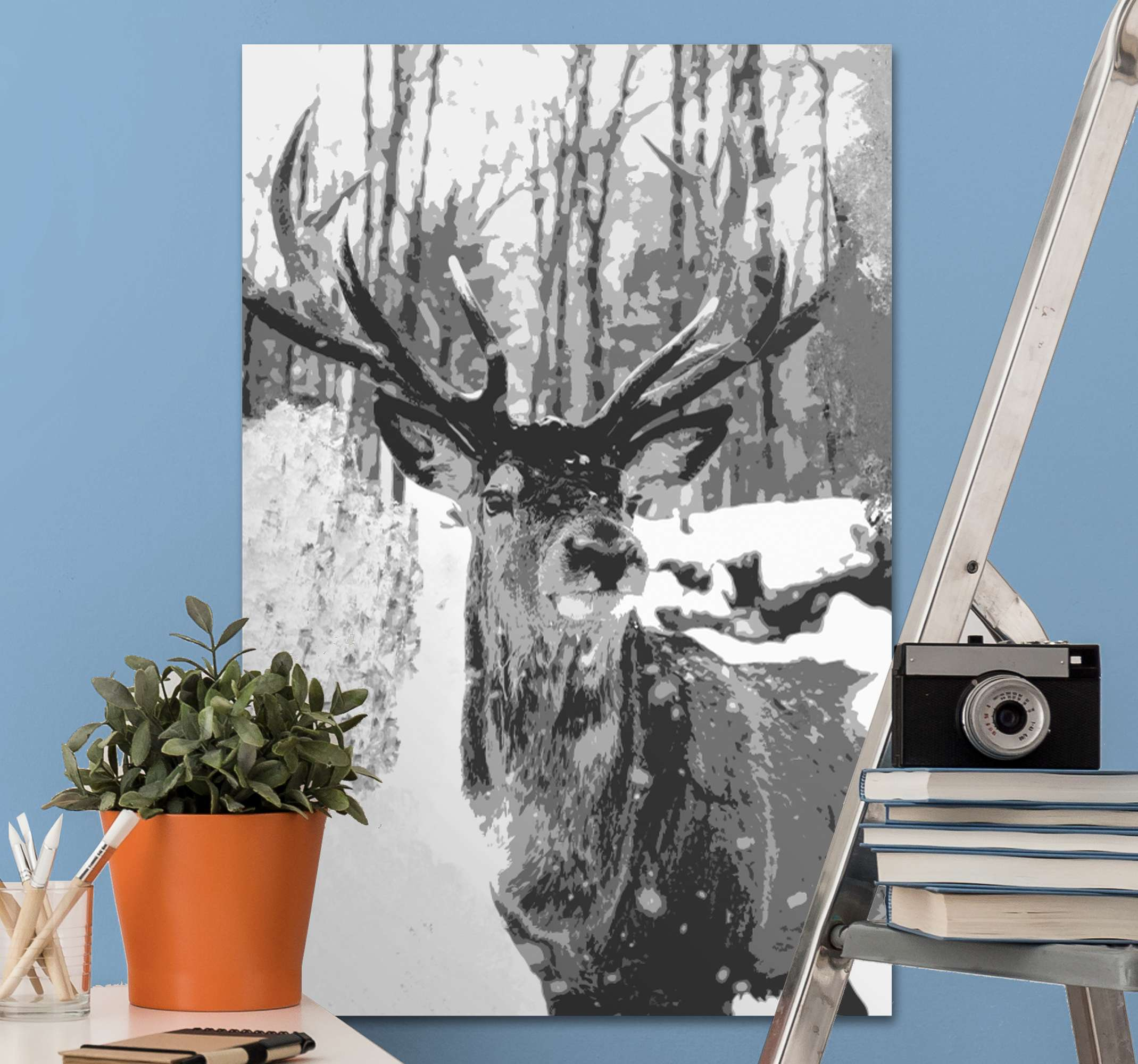 TenStickers. Gray deer traces of paint Stag canvas prints. Looking for a fine animal art to add a lovey look and attention on your space? This wondering stag animal in forest canvas is just perfect.