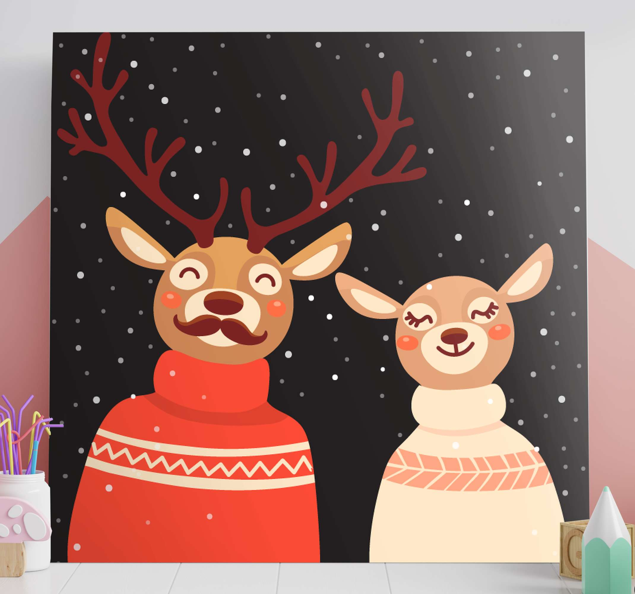 TenStickers. Couple in dress stag canvas prints. Deer couple in dress stag canvas. It black background depicts night time with snow fall.  It is original, printed in quality finish and durable.