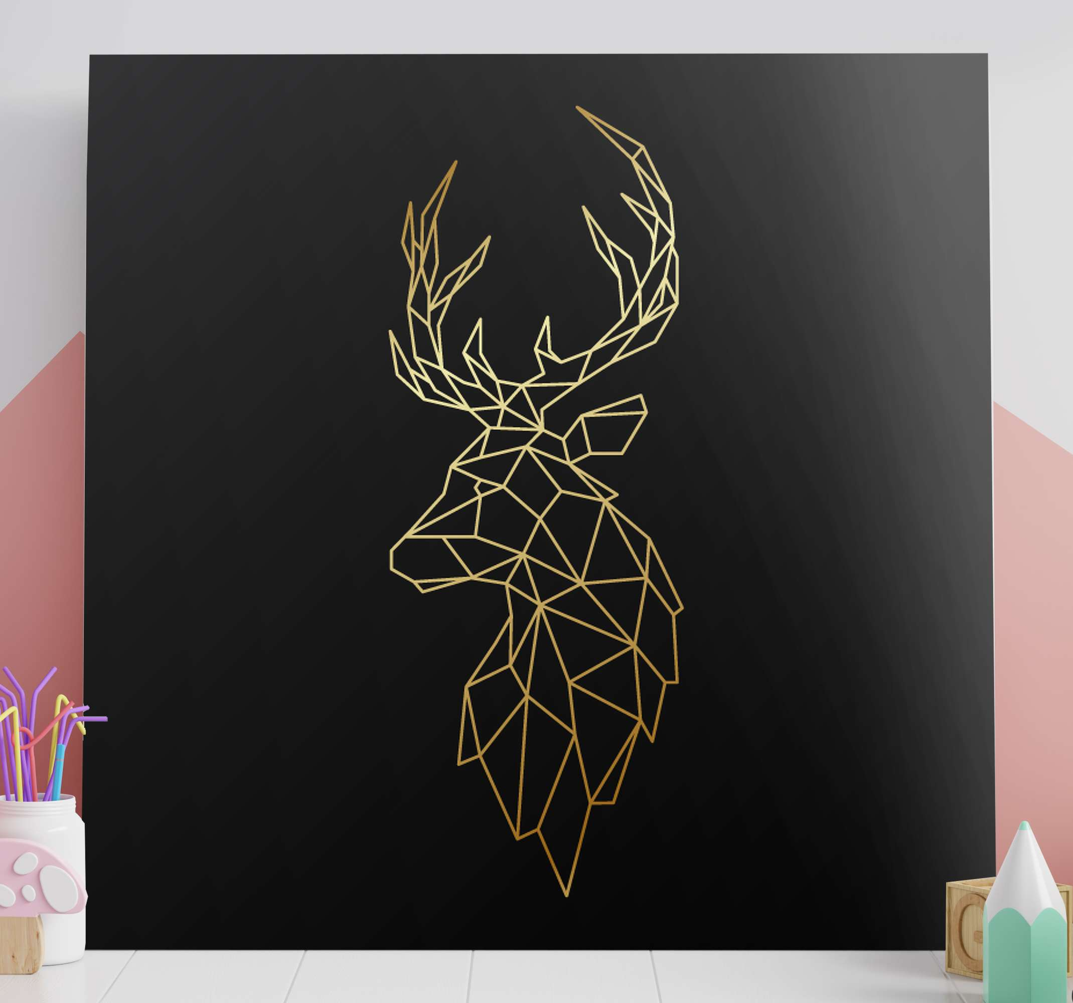 TenStickers. Golden origami deer Stag canvas prints. An origami deer canvas art print on solid black background. . Made of top quality material, durable, resistant to fading and light reflection.
