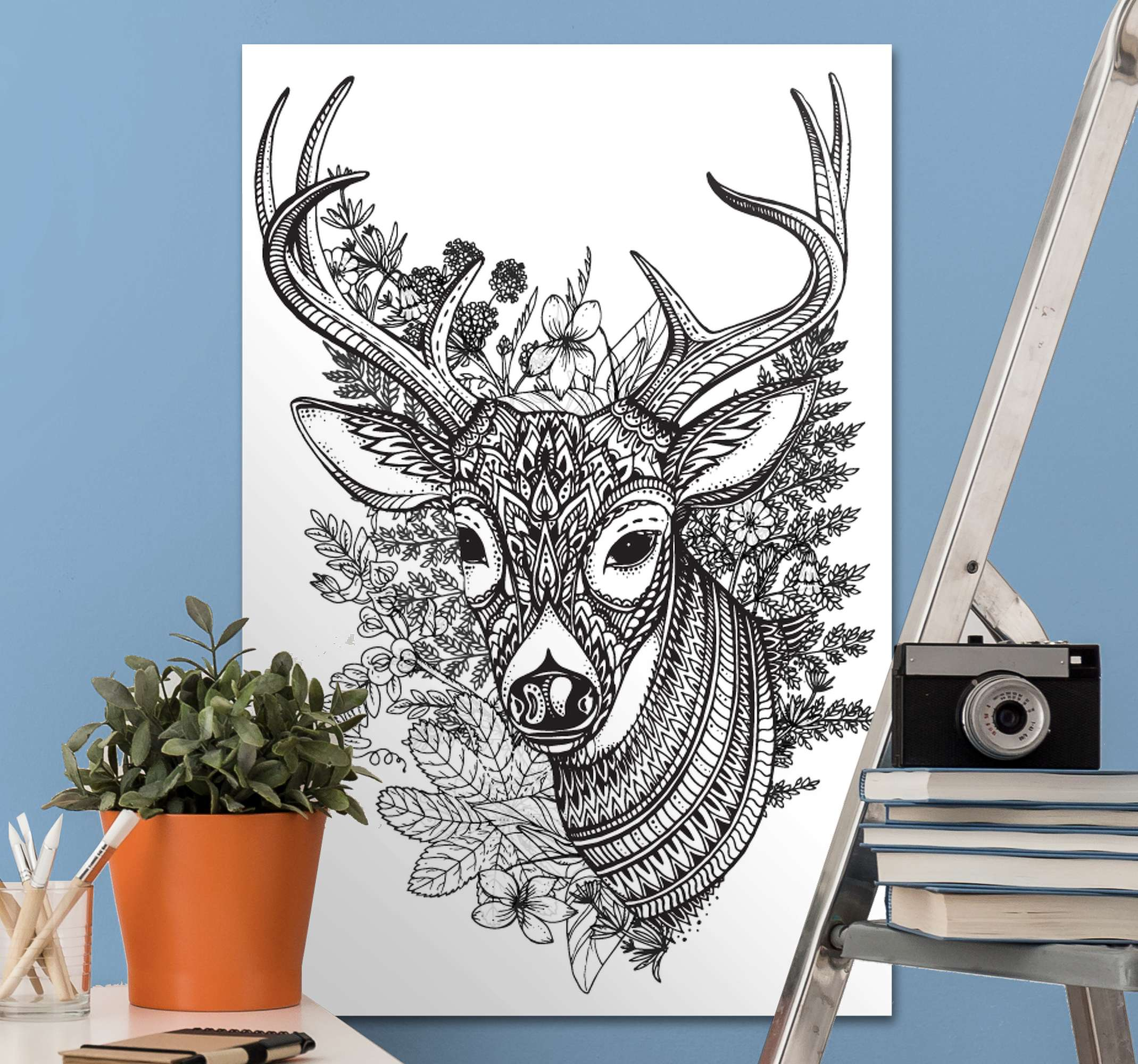 TenStickers. Deer horns with flowers Stag canvas prints. Creative animal canvas art hosting the drawing illustration of a deer's head with flower.  The canvas is original, easy to hand and durable.