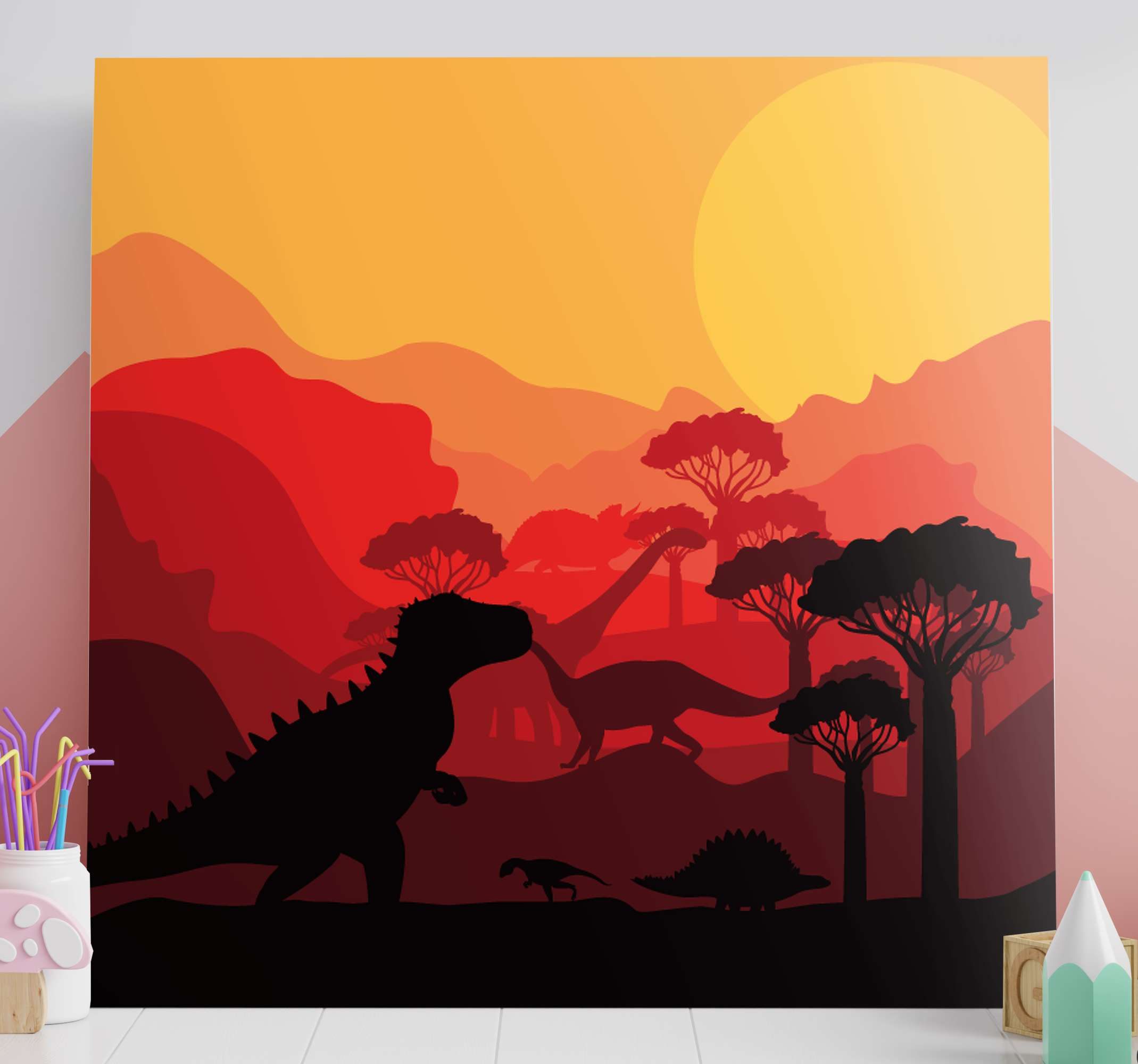 TenStickers. Dinosaurs Jurassic landscape wall art. An amazing landscape with dinosaurs canvas.  The canvas design illustrates different dinosaurs on a natural forest and the landscape covered in sunset.