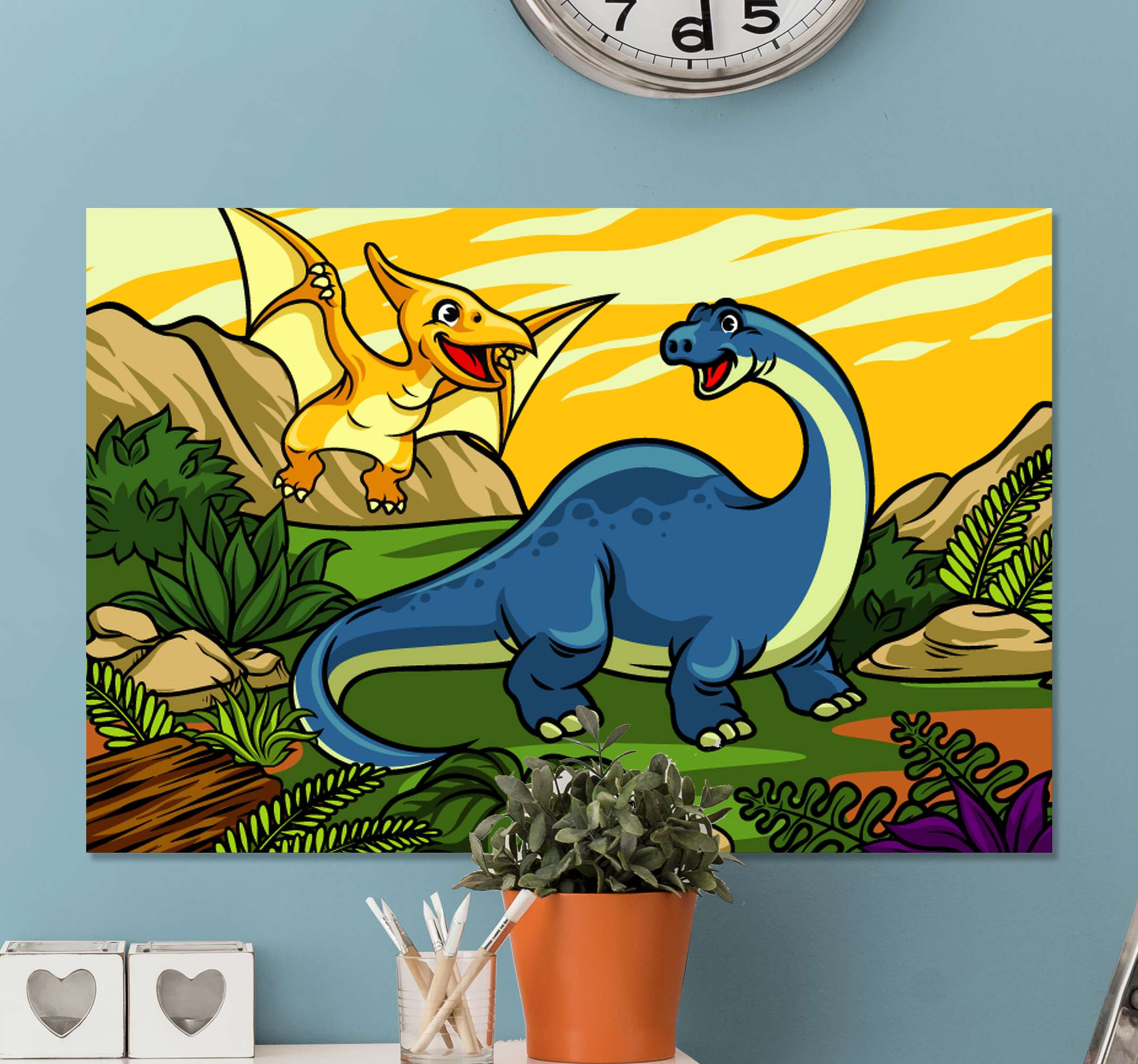 TenStickers. Children's dinosaurs Jurassic with landscape wall art. Jurassic dinosaur canvas art with an amazing landscape. Really pretty and it would change the look on your kid's space with a lovely effect.