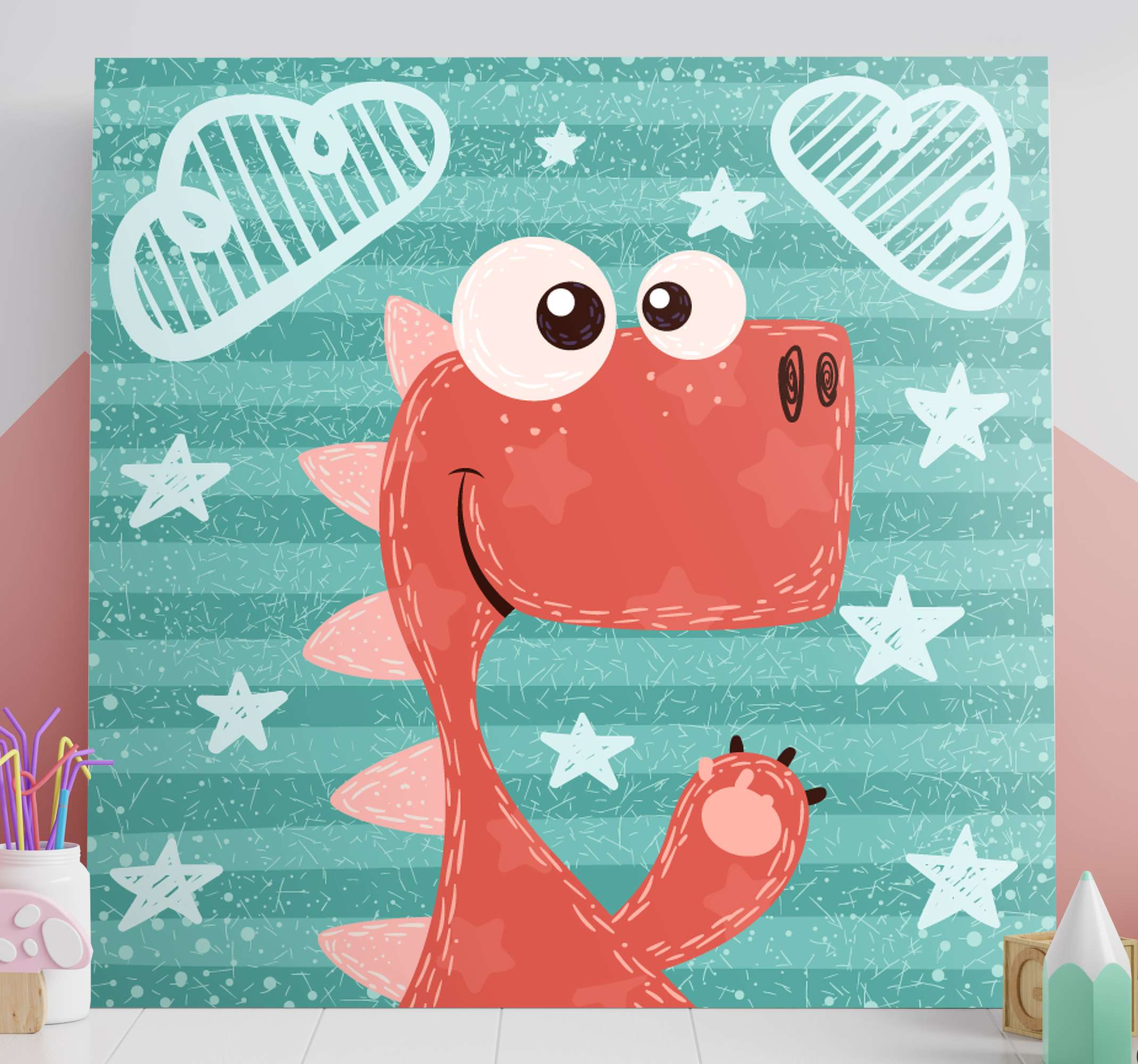 TenStickers. Happy cartoon dinosaurs canvas for kids. Here we have for you a happy cartoon dinosaurs canvas for kids. You are sure to interest your kid with this amazing illustrative cartoon canvas.