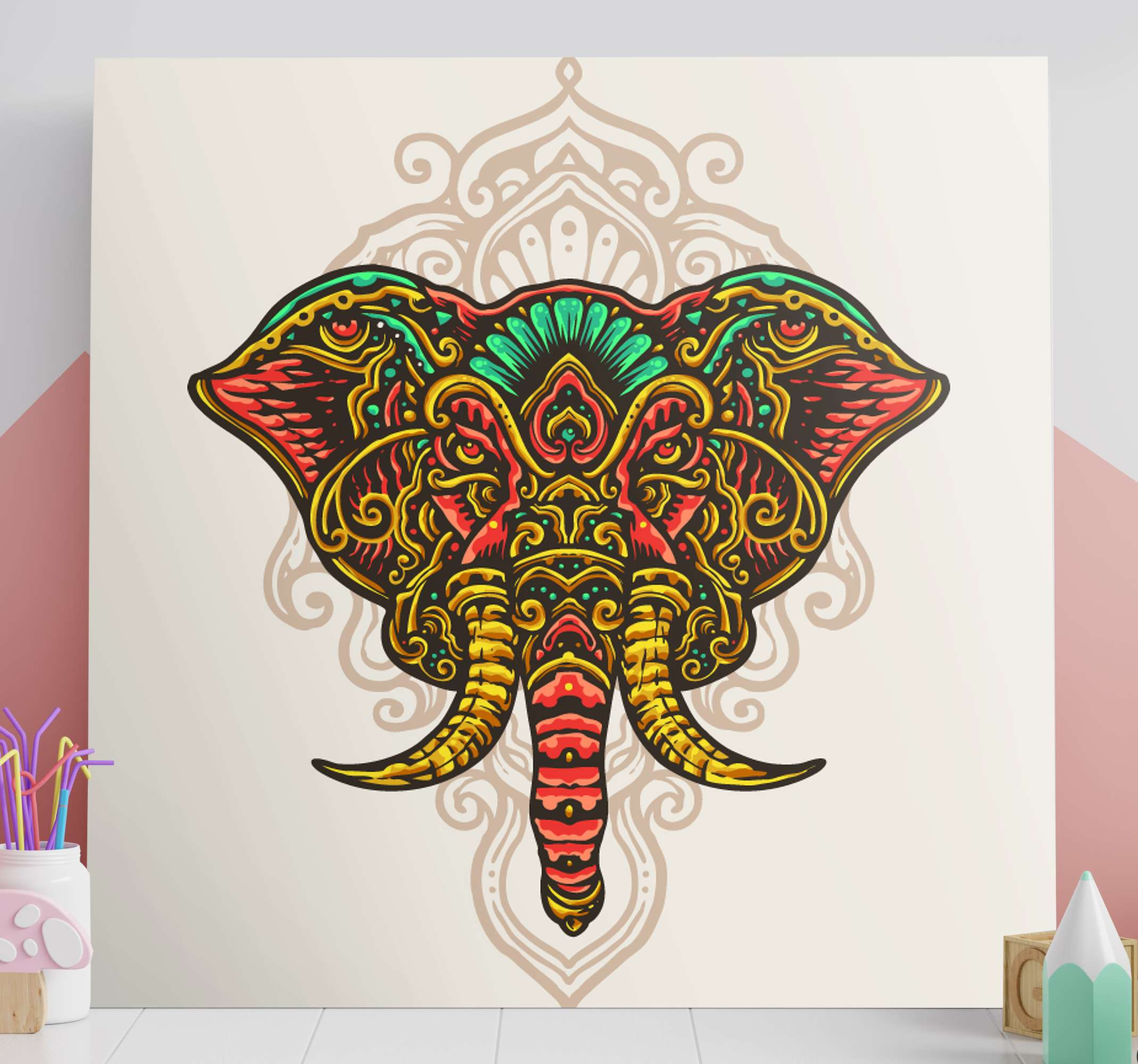 TenStickers. Multicolor Indian mandala elephant canvas art. An elephant canvas print with mandala for lovers of traditional and tribal inspired design.  Perfect to decorate any space and it is original.