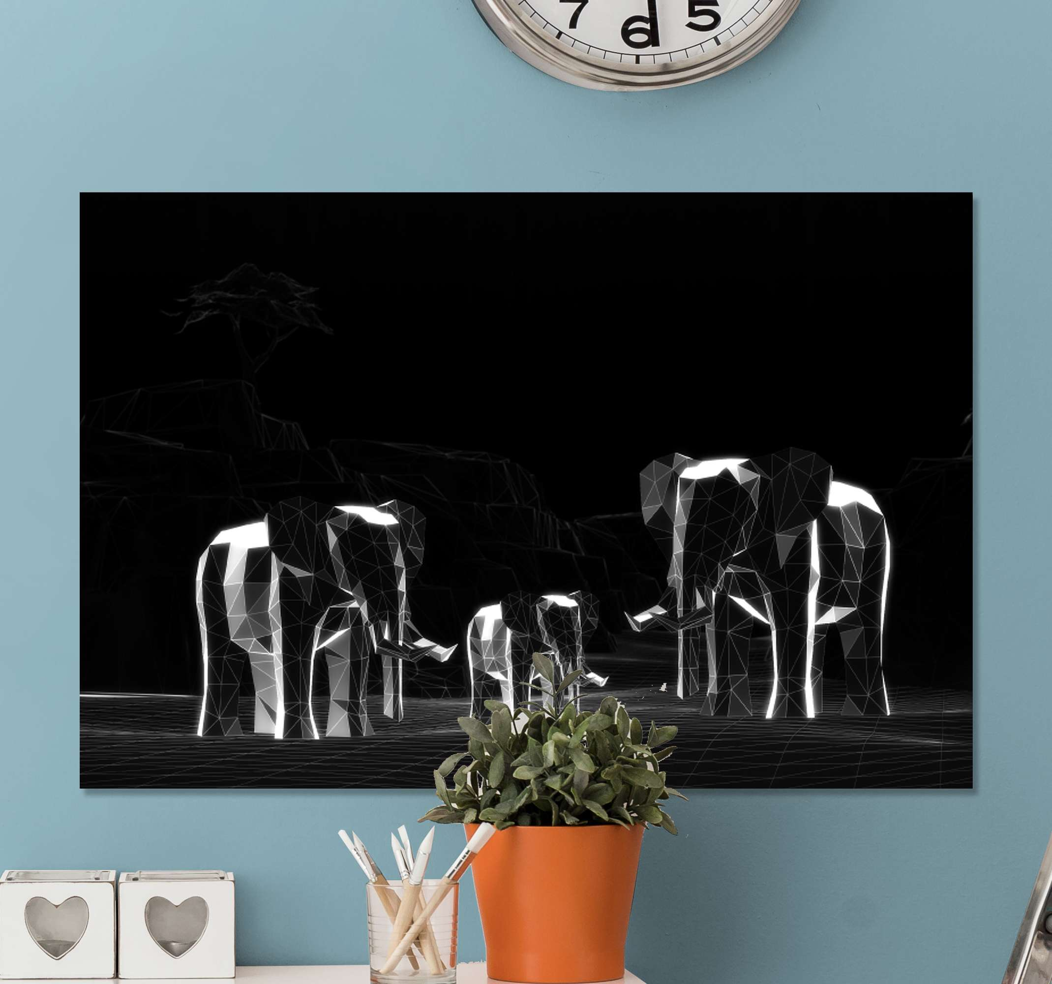 TenStickers. Gray elephants 3D effect elephant canvas art. An amazing grey animal canvas wall print presenting herd of elephant in glassy transparent geometric style.  It is printed in high quality finish.